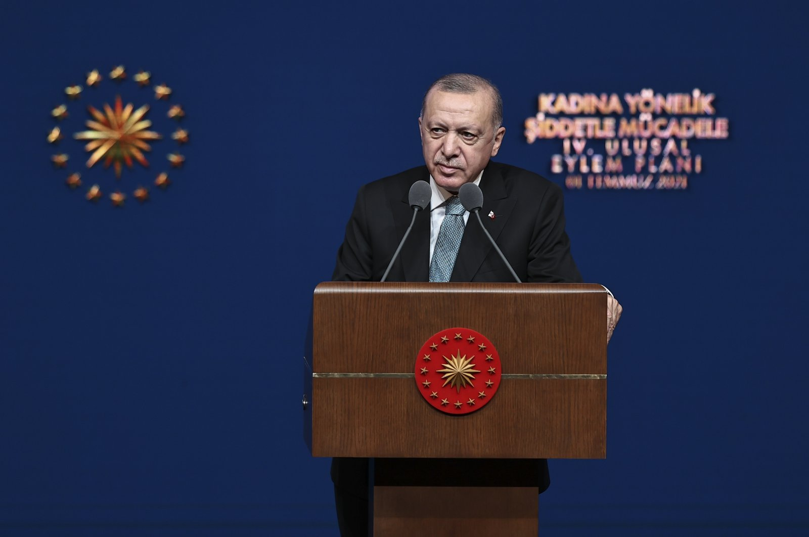 President Recep Tayyip Erdoğan speaks at the launch of the plan at the Presidential Complex, in the capital Ankara, Turkey, July 1, 2021. (AA PHOTO)