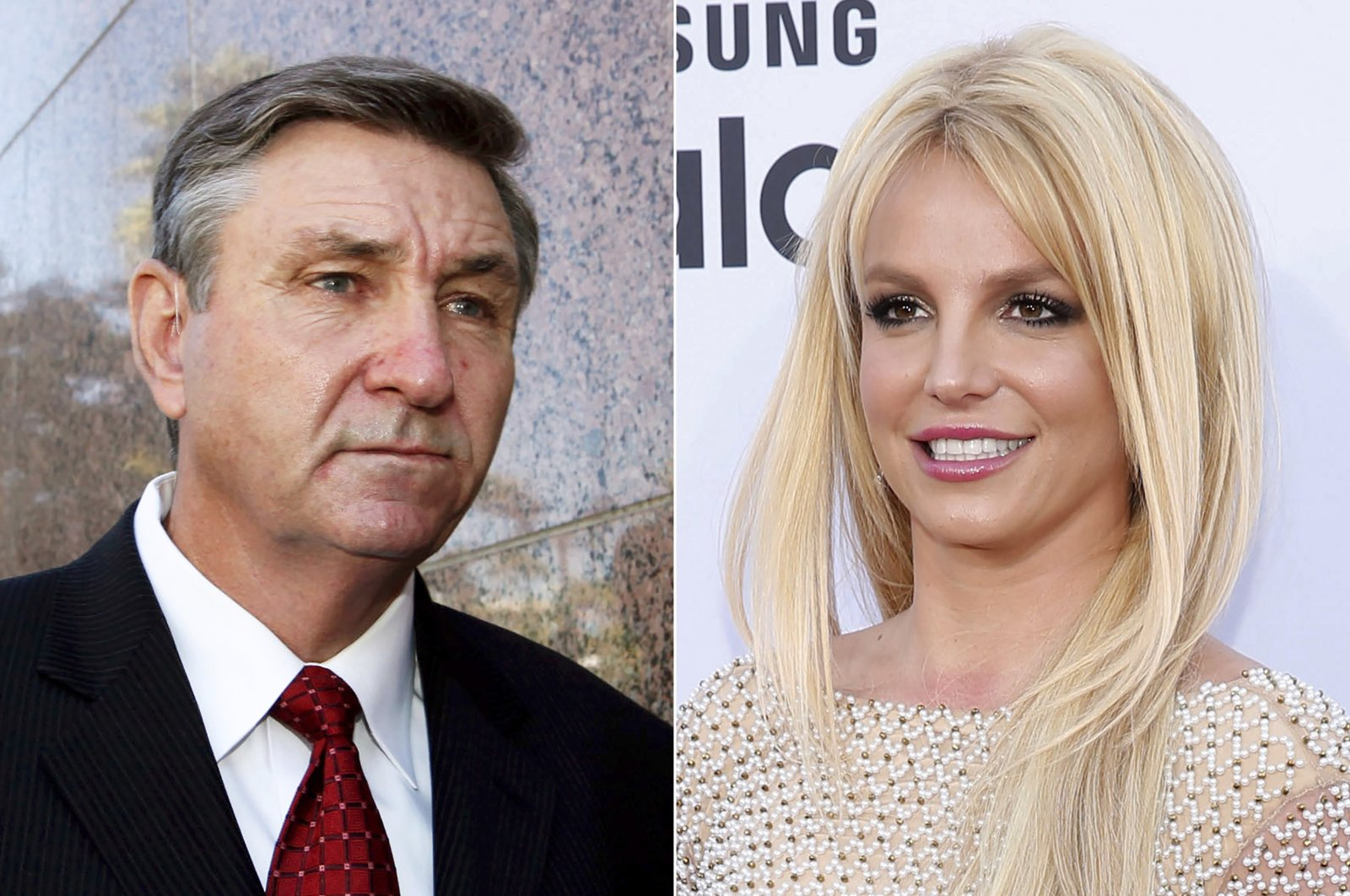 The photo combination shows Jamie Spears, father of singer Britney Spears, leaving the Stanley Mosk Courthouse in Los Angeles, U.S., Oct. 24, 2012 (L) and Britney Spears arriving at the Billboard Music Awards in Las Vegas, U.S., May 17, 2015. (AP Photo)