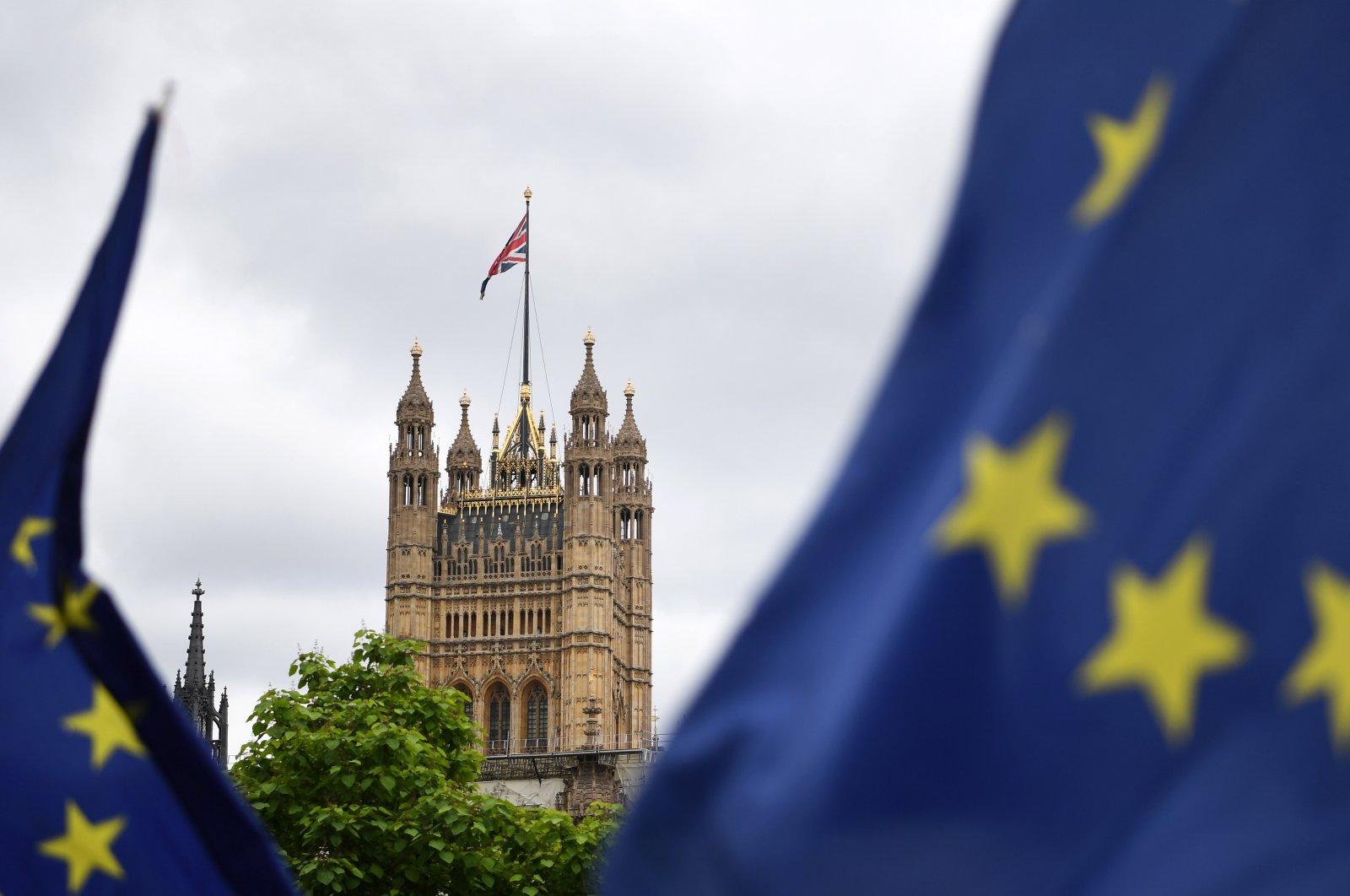 EU flag outside parliament in London, U.K., June 30, 2020. (EPA Photo)