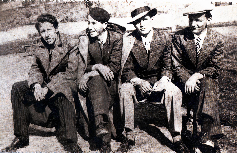 An old photo shows (L-R) Orhan Veli Kanık, Şinasi Baray, Oktay Rifat and Melih Cevdet Anday. (Archive Photo)
