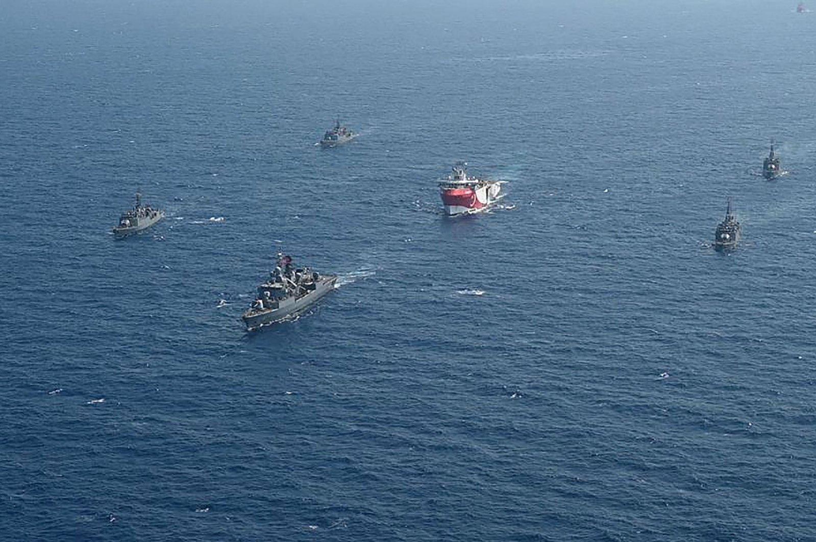 The Turkish seismic research vessel Oruç Reis is escorted by Turkish naval warships in the Mediterranean Sea off Antalya, Turkey, Aug. 10, 2020. (AFP Photo)