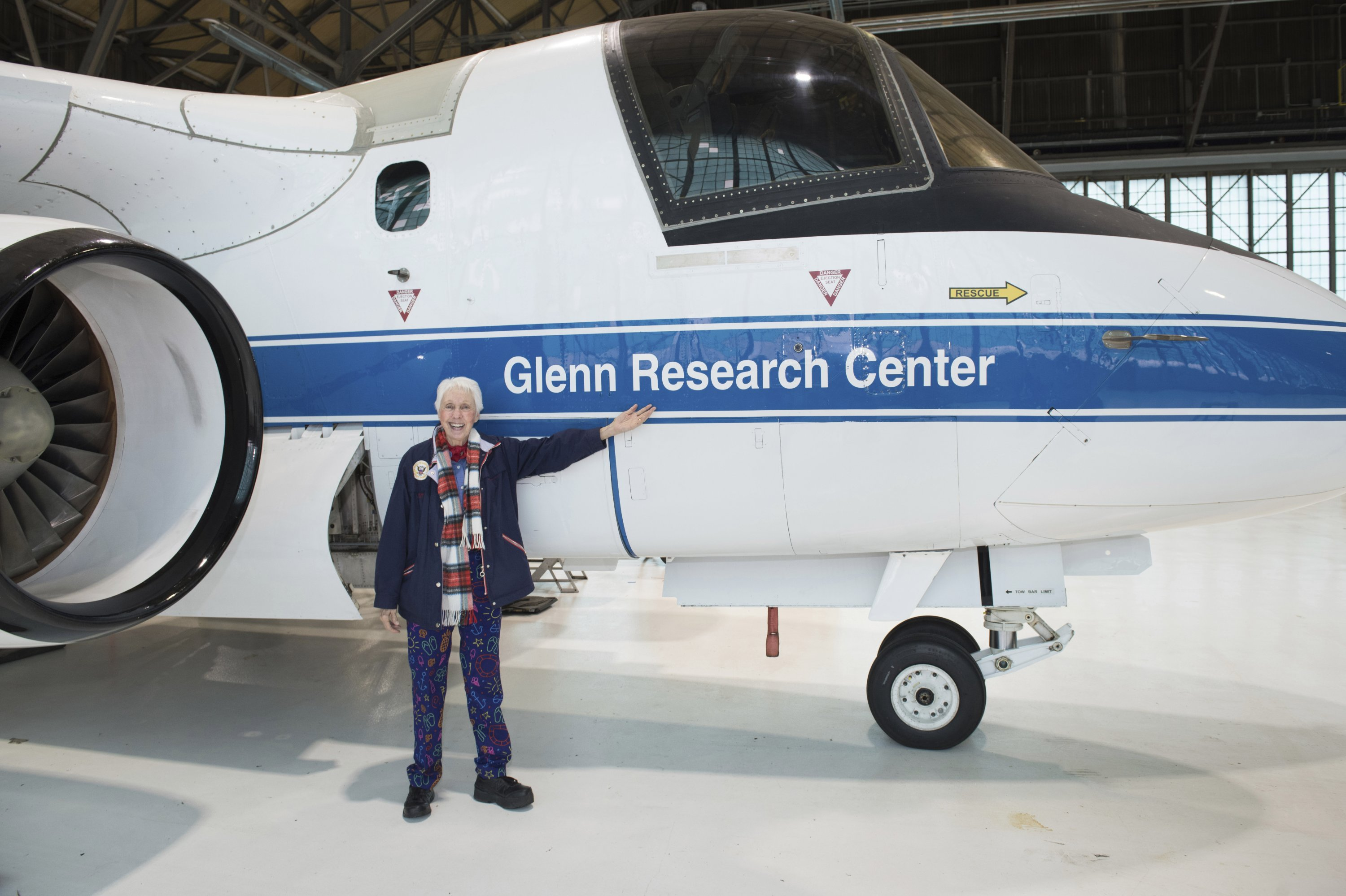 Mercury 13 astronaut trainee Wally Funk visits the Glenn Research Center at Lewis Field in Cleveland, Ohio, U.S., 2019. (NASA via AP)