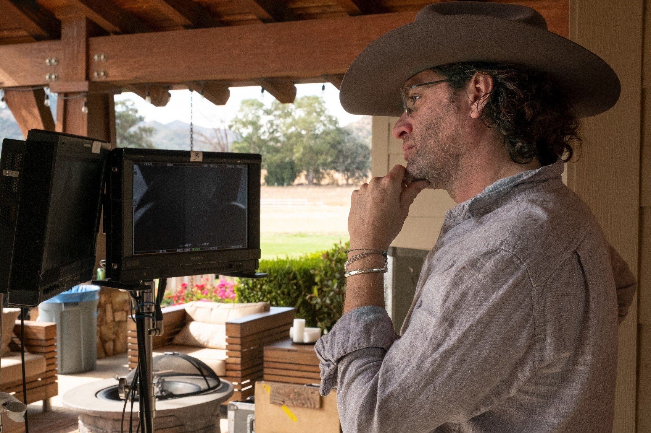 Director Everardo Gout looks at monitors on the set of his film 'The Forever Purge.' (Universal Pictures via AP)