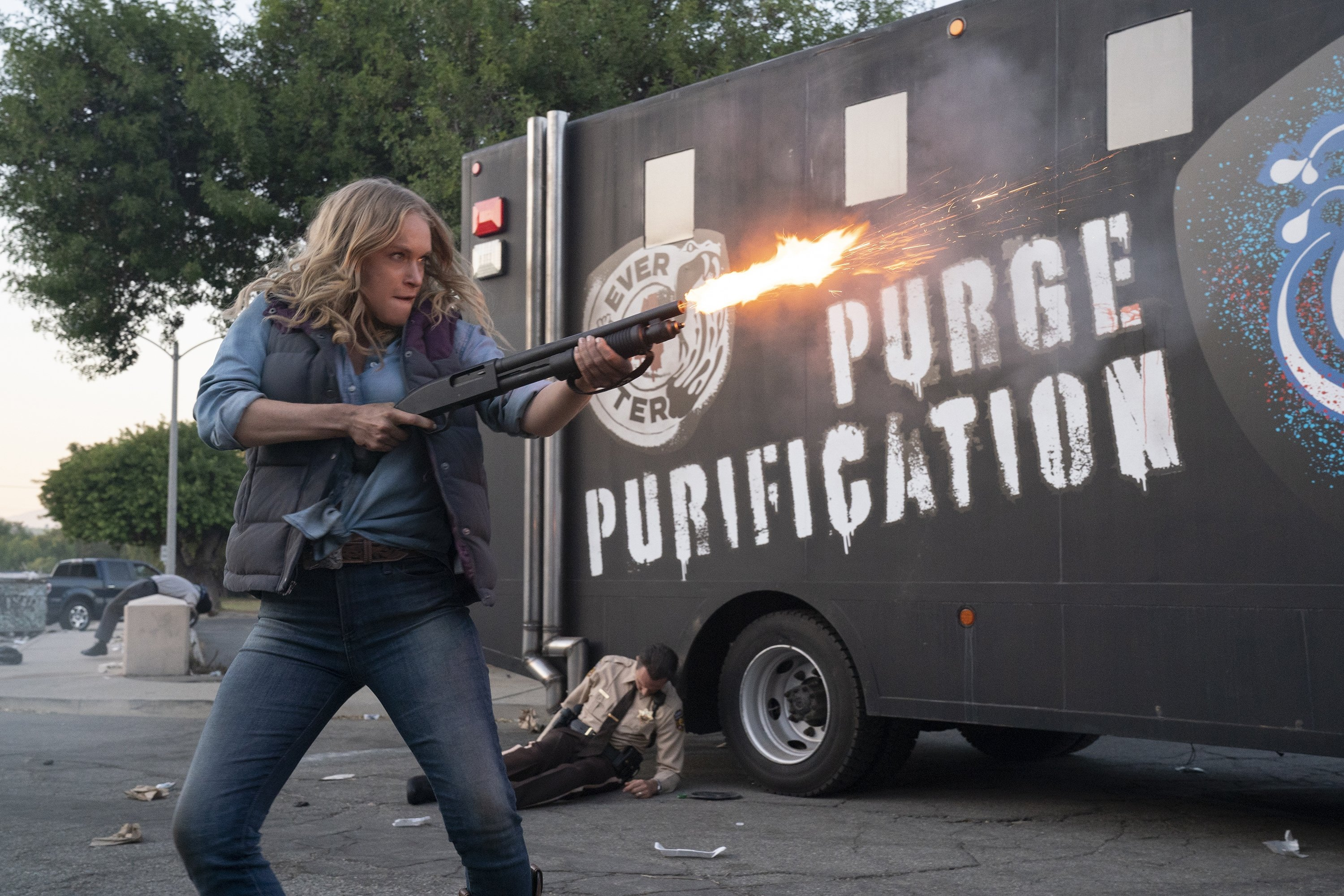 Leven Rambin fires a weapon in a scene from 'The Forever Purge,' directed by Everardo Valerio Gout. (Universal Pictures via AP)