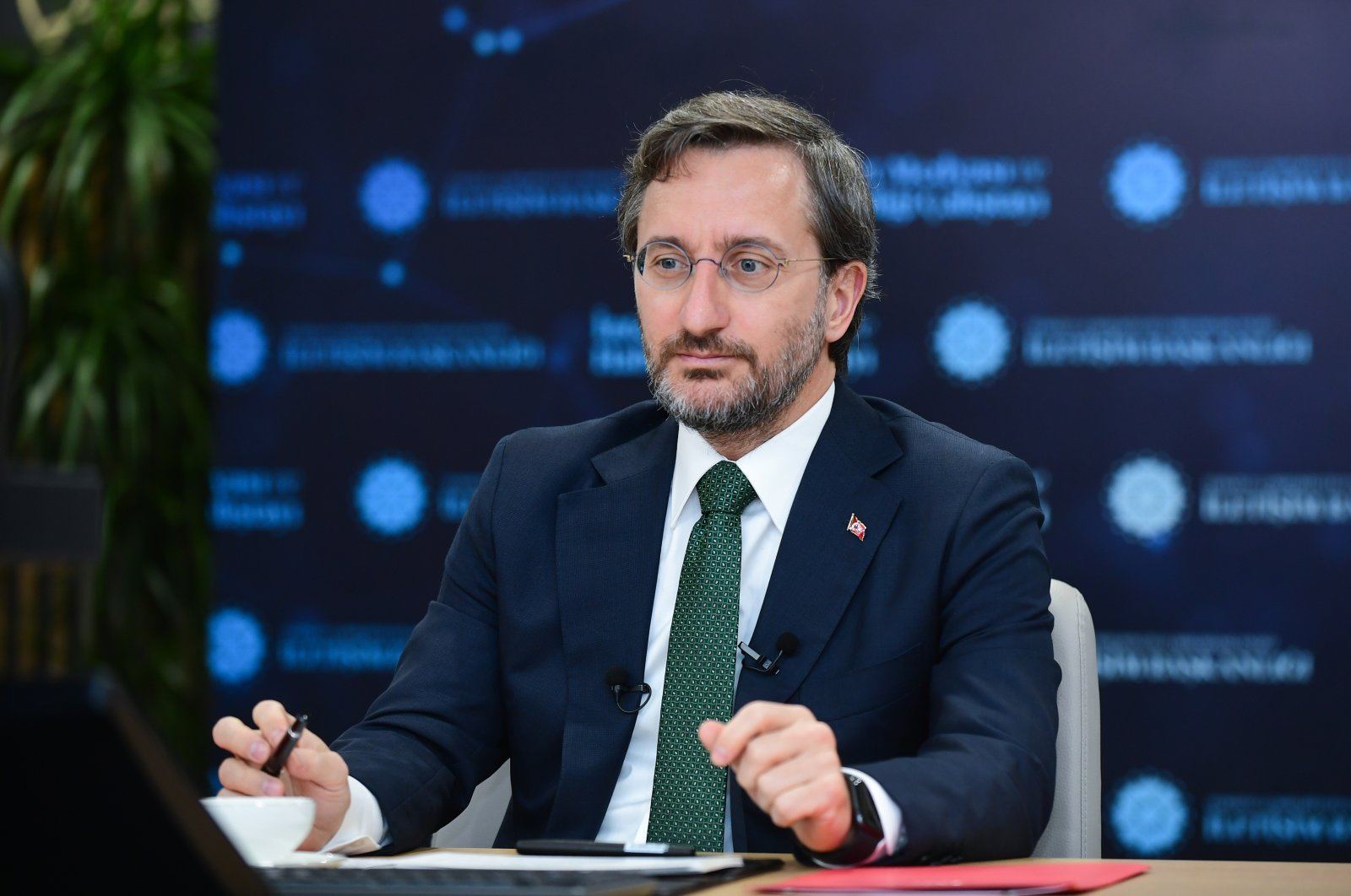 Turkey's Presidential Communications Director Fahrettin Altun is seen during an online conference in the capital Ankara, Turkey, July 2, 2021. (AA Photo)