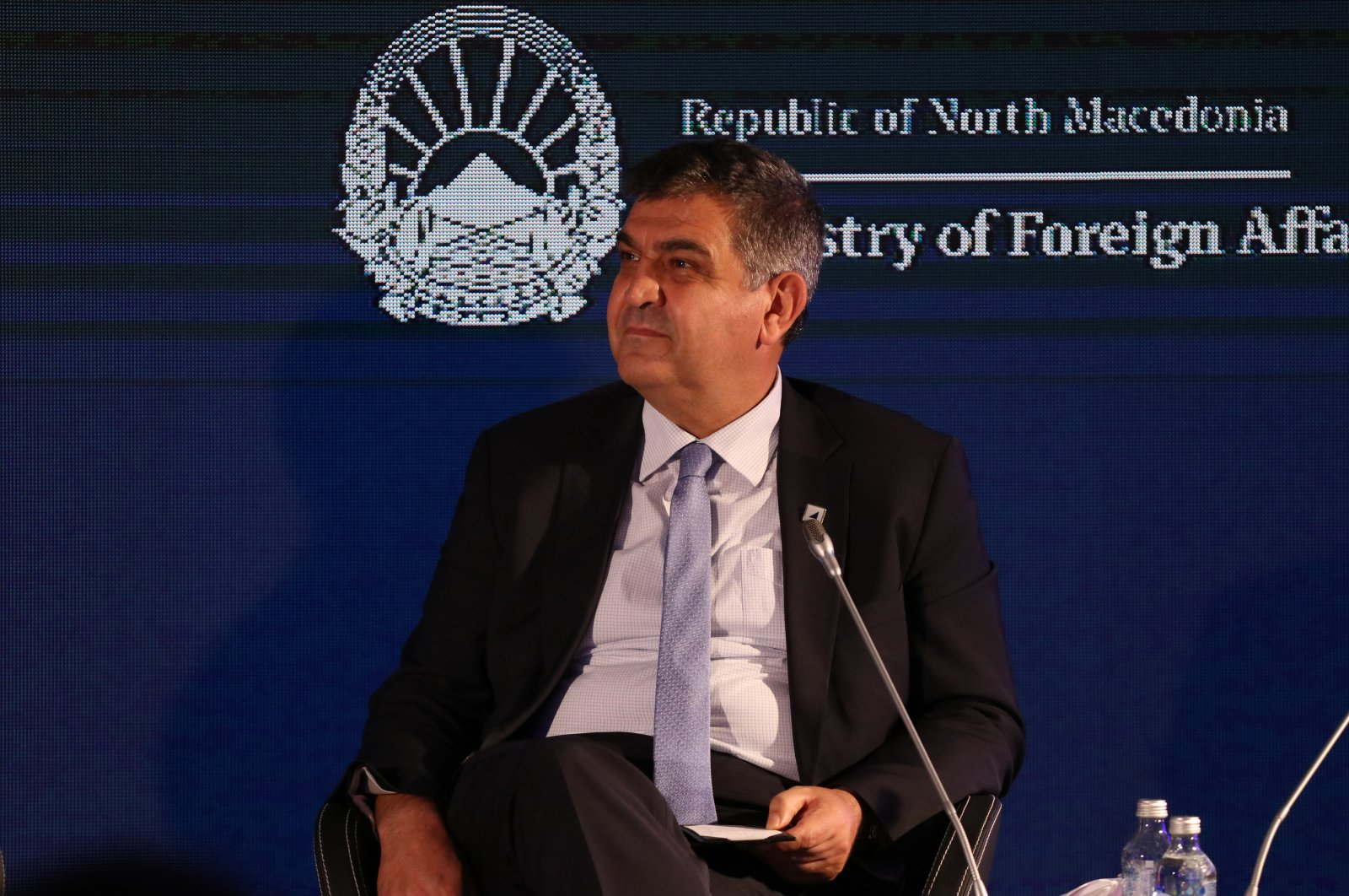 Deputy Foreign Minister Faruk Kaymakcı speaks at Prespa Dialogue Forum in North Macedonia, July 1, 2021. (AA Photo)