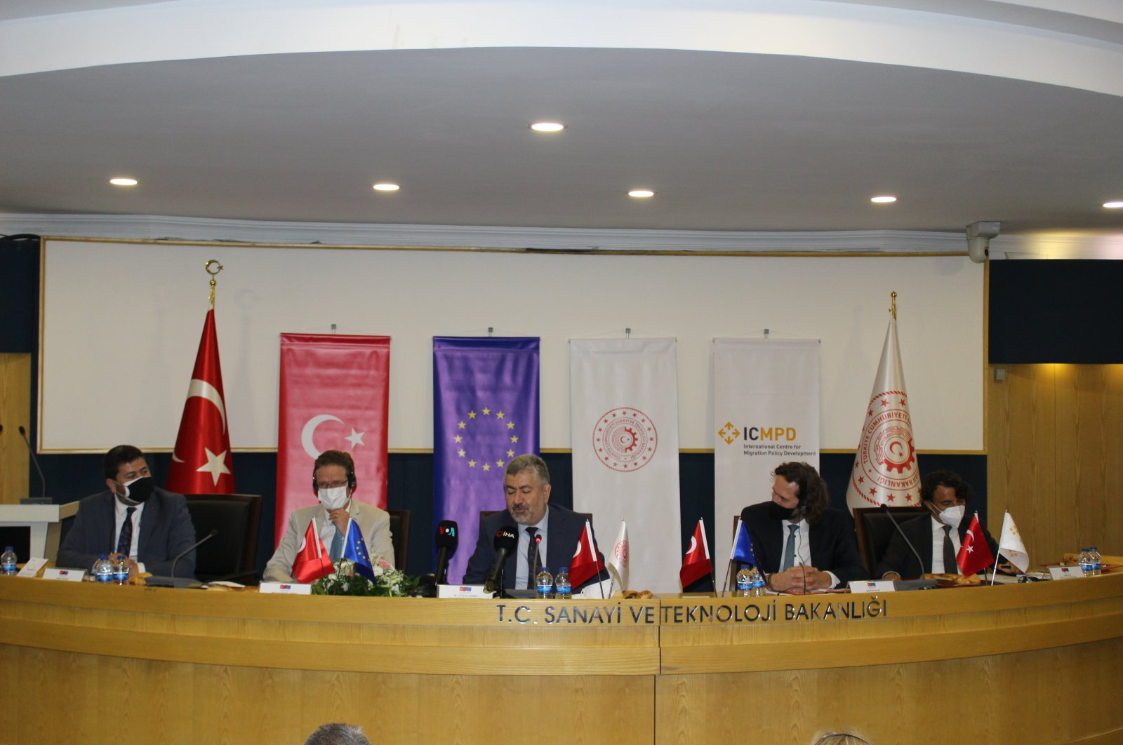 Senior officials from the ICMPD, the EU and Turkey's Ministry of Industry and Technology are seen in this photo during a press conference in Ankara, Turkey, July 2, 2021 (Photo Courtesy of the ICMPD)