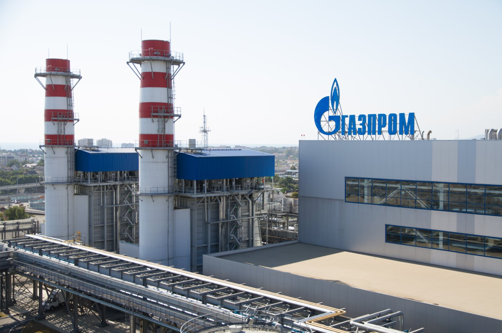 The Gazprom company logo on the roof of a thermal power plant, Adler, Russia, June 26, 2013. (Shutterstock Photo)