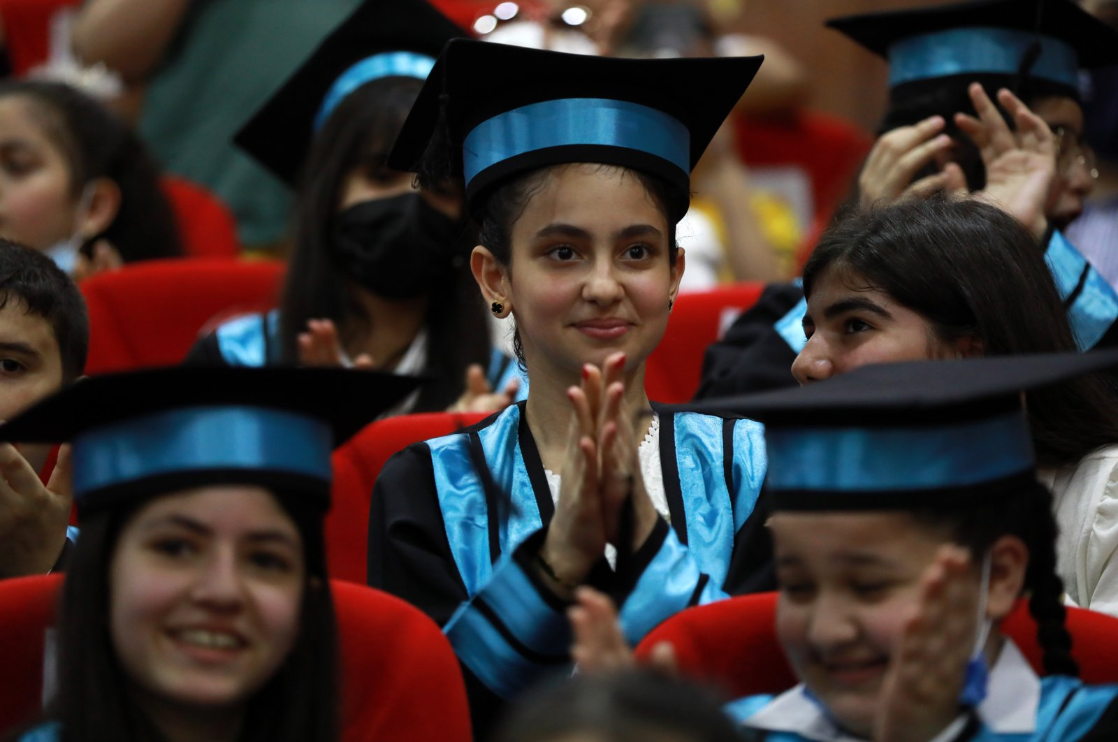 Students attend a graduation ceremony at a school run by the Maarif Foundation in Baghdad, Iraq, June 26, 2021. (AA PHOTO)