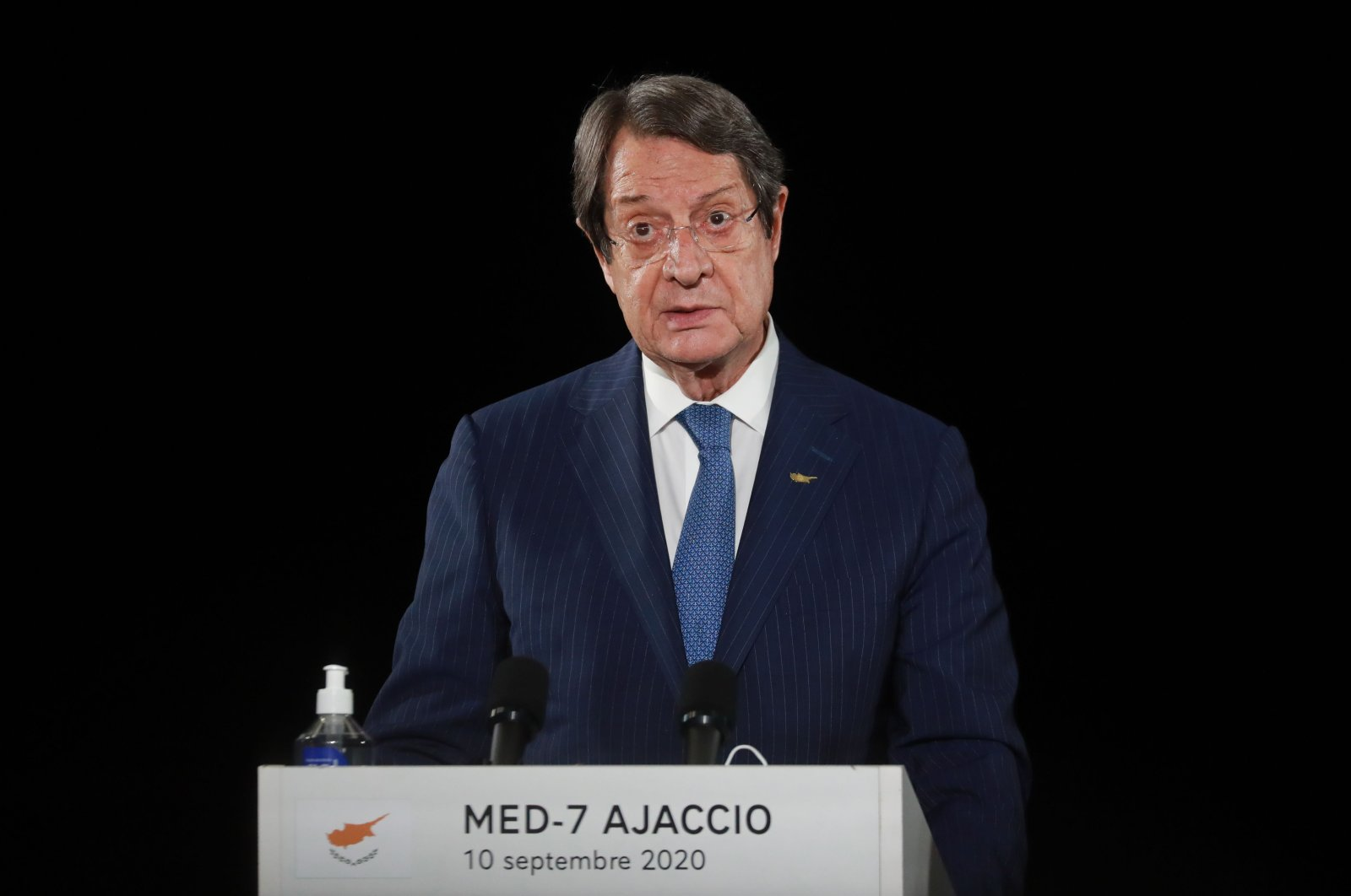 Greek Cypriot administration leader Nicos Anastasiades speaks during the closing press conference of the seventh MED7 Mediterranean countries summit, on September 10, 2020 in Porticcio, Corsica. (AFP Photo)