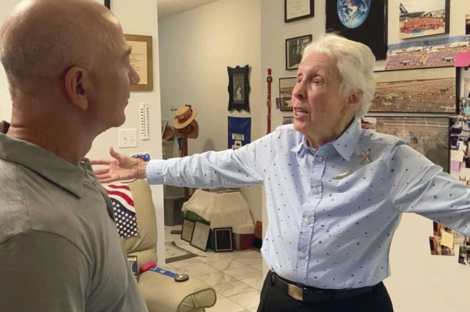 Mercury 13 astronaut trainee Wally Funk (R), meets with Jeff Bezos. (Blue Origin via AP)
