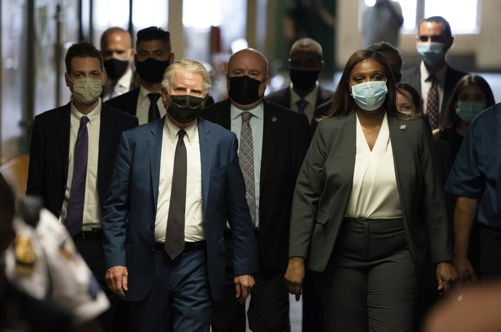 New York County District Attorney Cyrus Vance Jr. (L) and Attorney General of New York Letitia James (R) arrive at New York State Supreme Court, New York, July 1, 2021. (AP Photo)