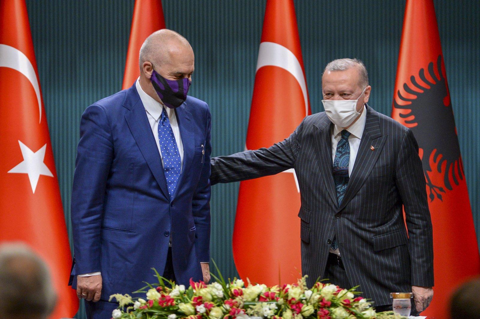 Turkish President Recep Tayyip Erdoğan (R) and his Albanian counterpart Edi Rama pose in a press conference, Ankara, Jan. 6, 2021. (Photo by Ali Ekeyılmaz)