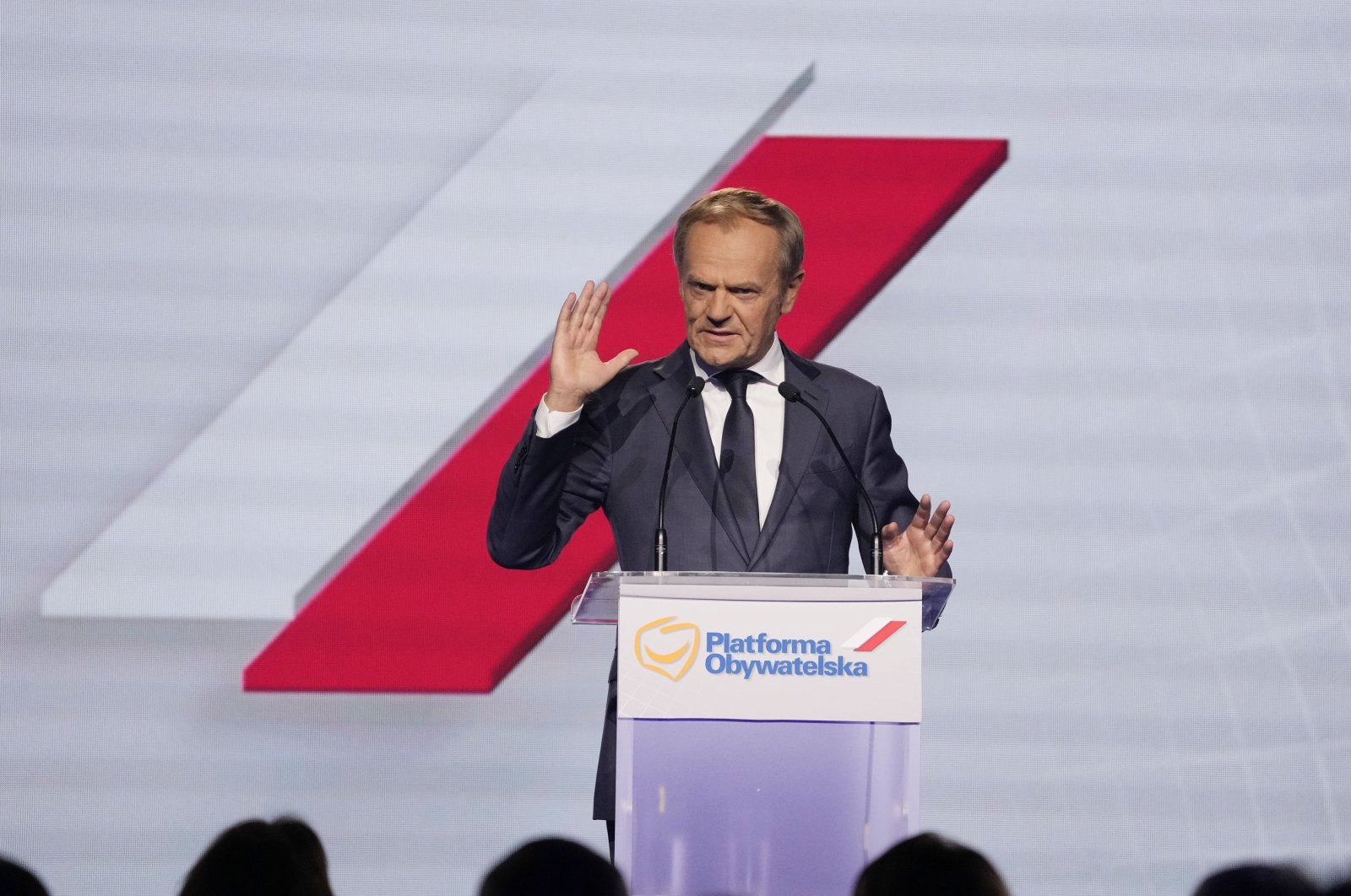 Former European Union leader and Poland's ex-prime minister, Donald Tusk, addresses a congress of Poland's opposition Civic Platform party, in Warsaw, Poland, July 3, 2021.(AP Photo)