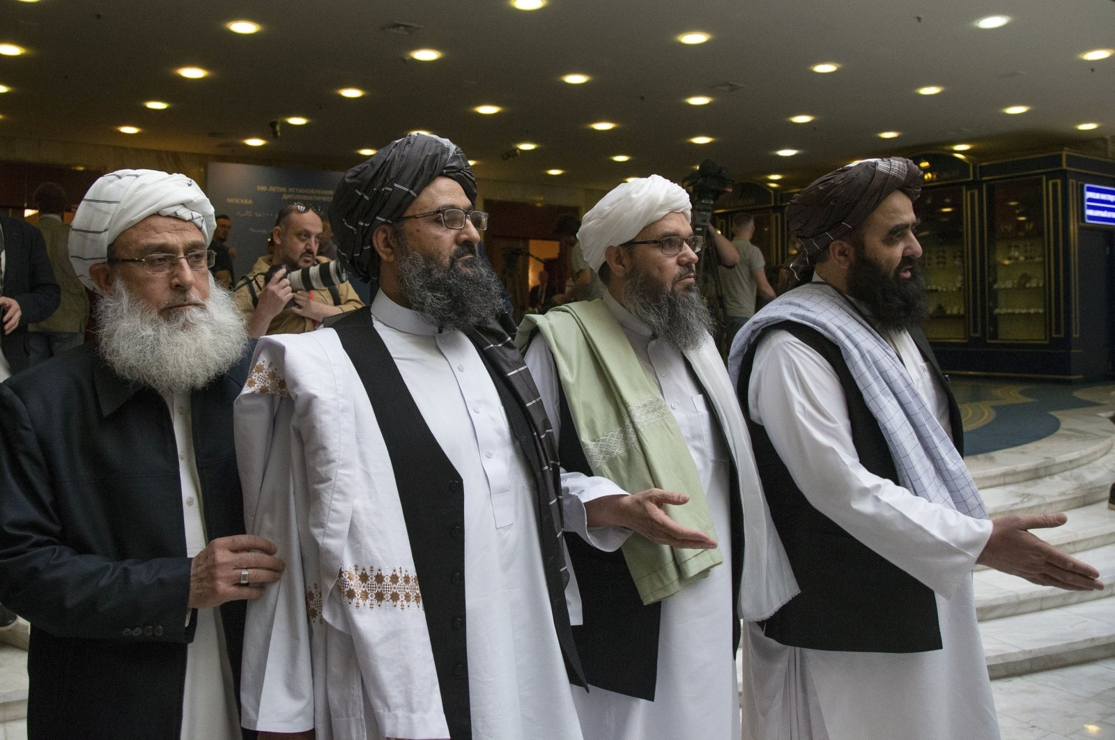 Mullah Abdul Ghani Baradar, the Taliban group's top political leader (2L) arrives with other members of the Taliban delegation for talks in Moscow, Russia, May 28, 2019. (AP Photo)