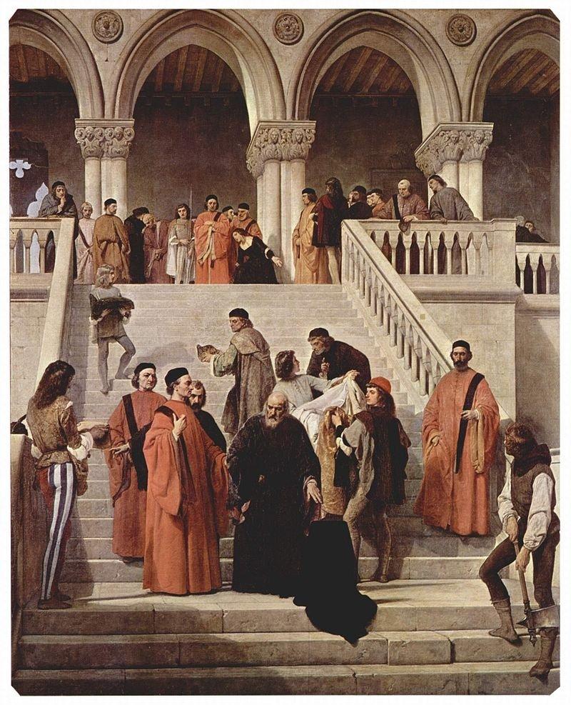 'The Ten' in Francesco Hayez's 'The Death of the Doge Marin Faliero,' 1867.