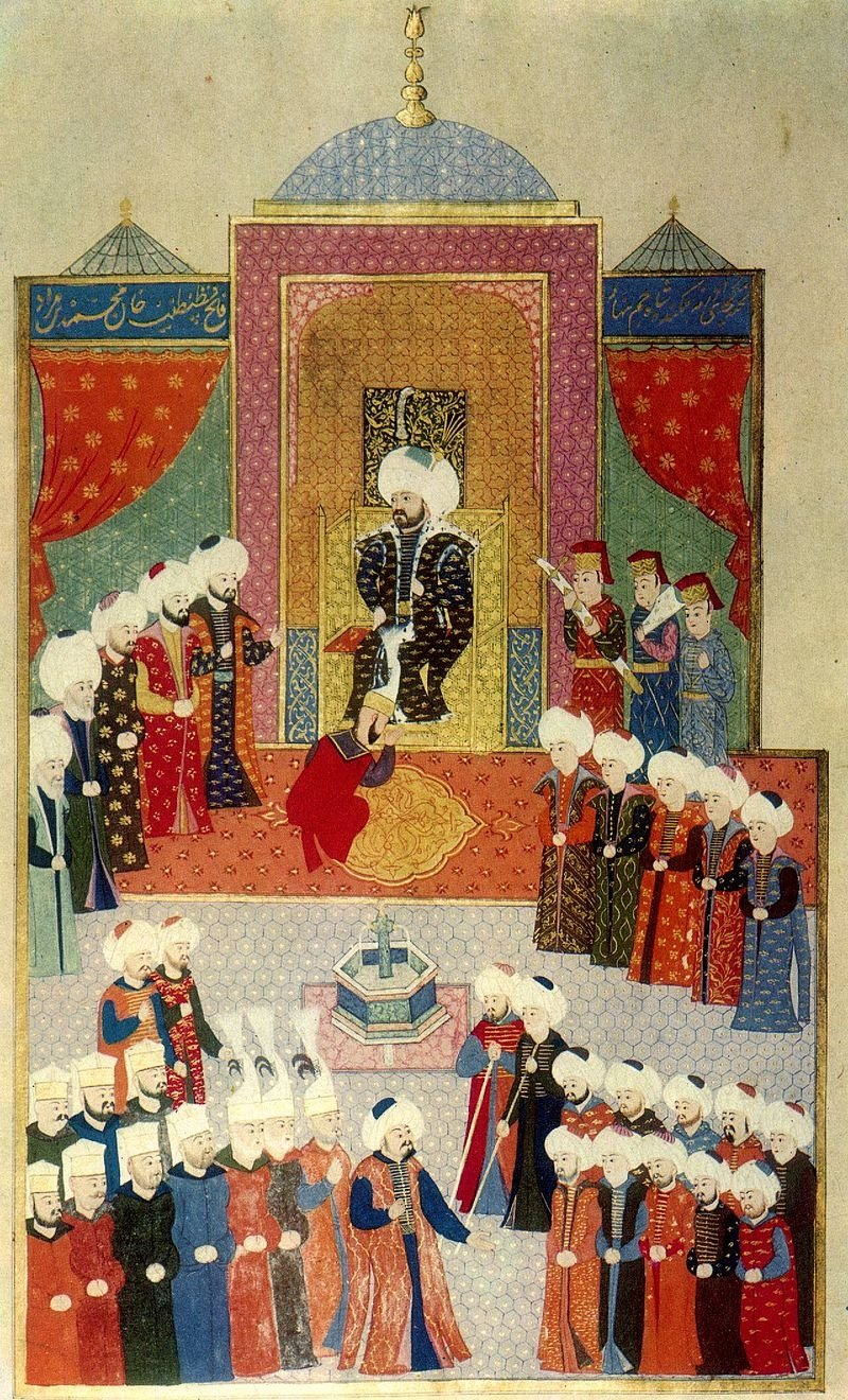 A miniature depicts the accession of Sultan Mehmed II in Edirne, Turkey, 1451.