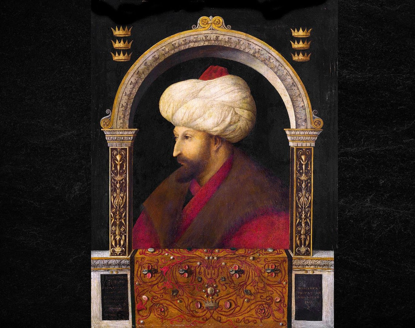 A portrait of Sultan Mehmed II, 1480, by Gentile Bellini, oil on canvas, 69.9 by 52.1 centimeters.