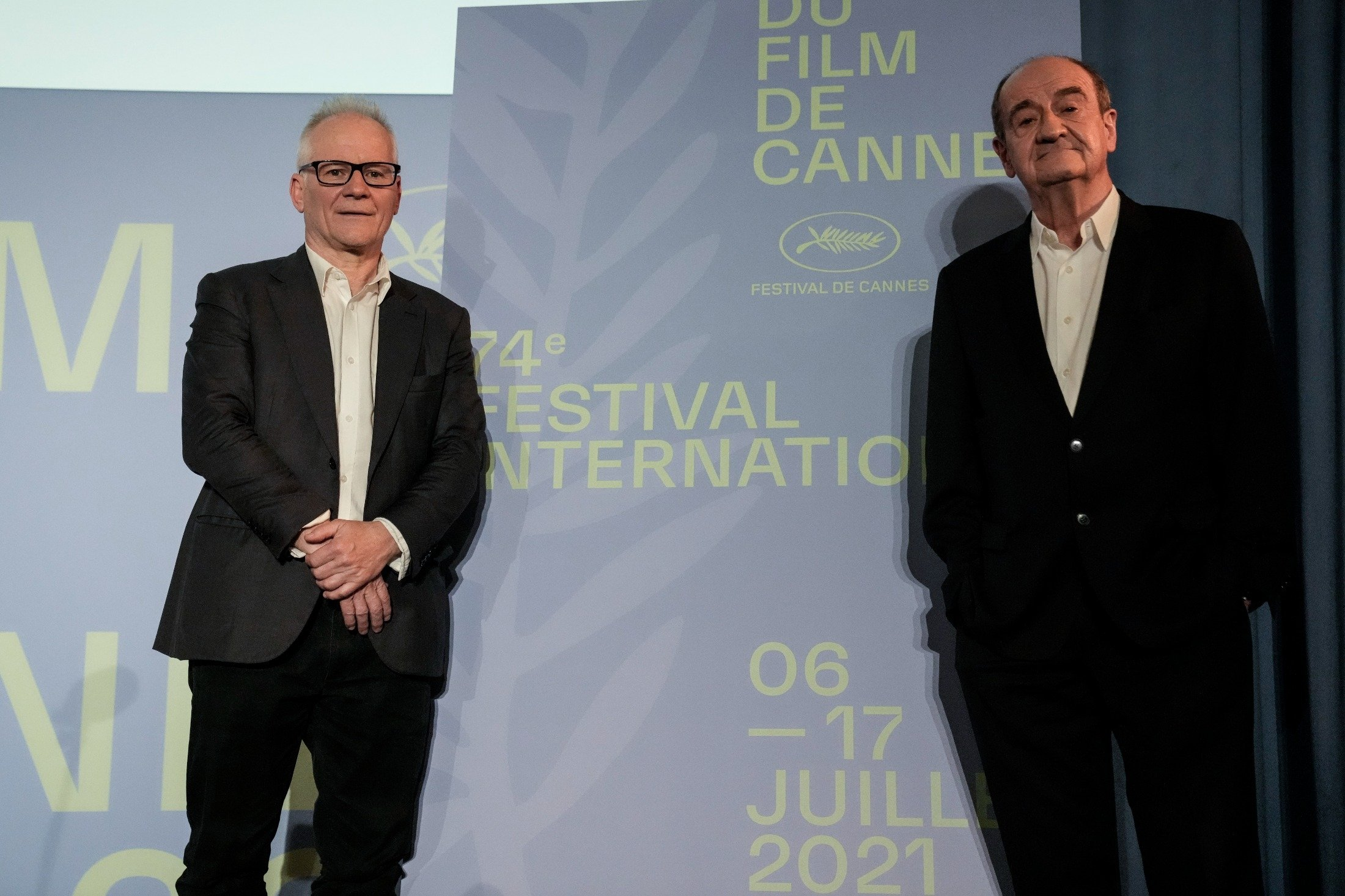 Festival director Thierry Fremaux (L) and Festival president Pierre Lescure during the presentation of the official selection of the 74th International Cannes Film Festival, in Paris, France, June 3, 2021. (AP Photo)