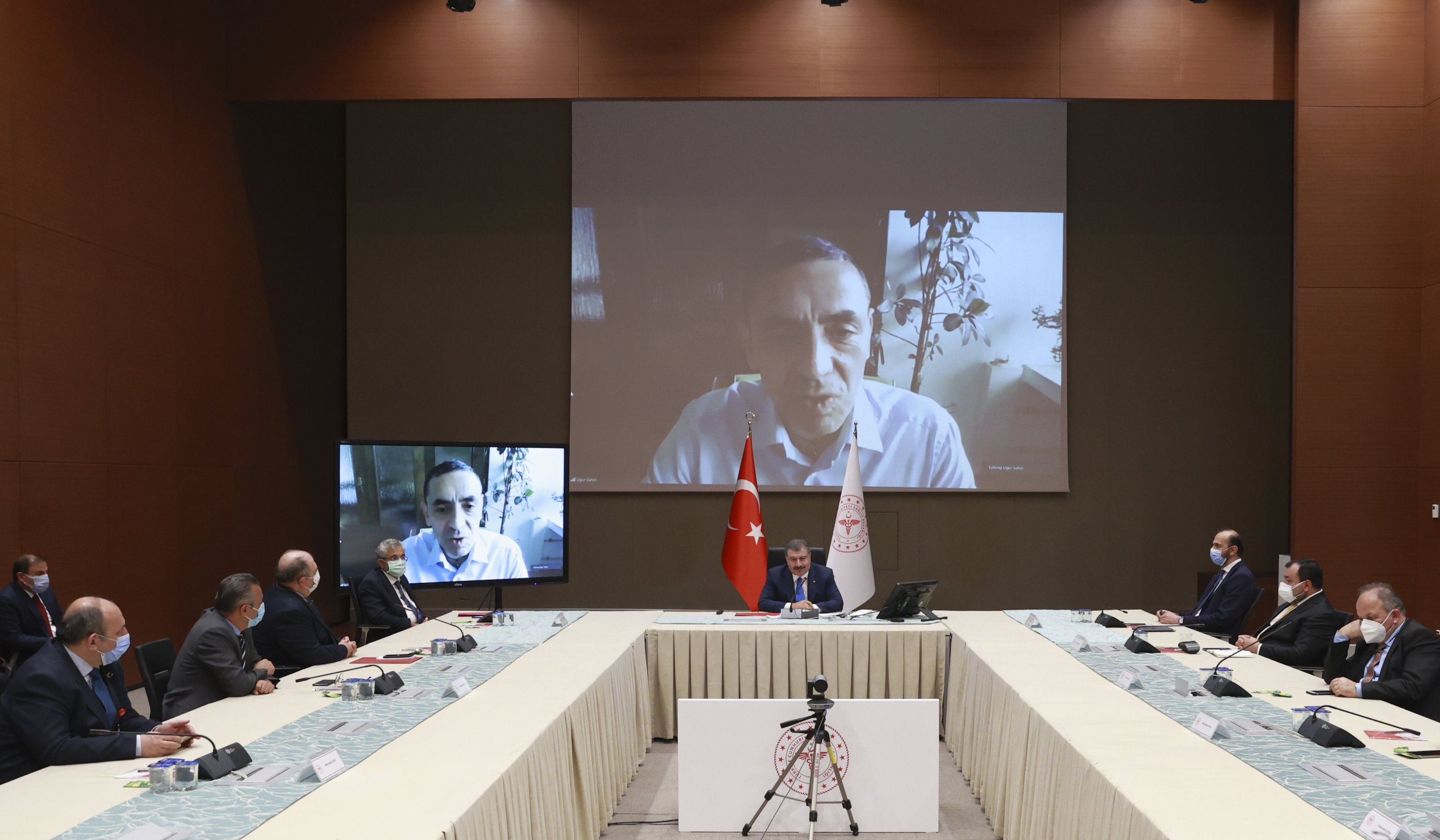 German pharmaceutical company BioNTech's CEO Ugur Şahin participates in a meeting of Turkey's health advisory council via teleconference from Germany, in Ankara, Turkey, May 20, 2021. (AP Photo)