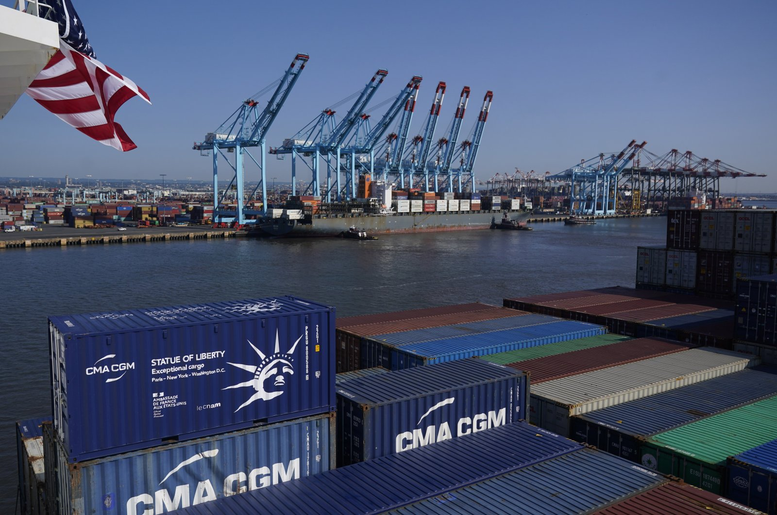 A container ship docks in Elizabeth, New Jersey, U.S., June 30, 2021. (AP Photo)
