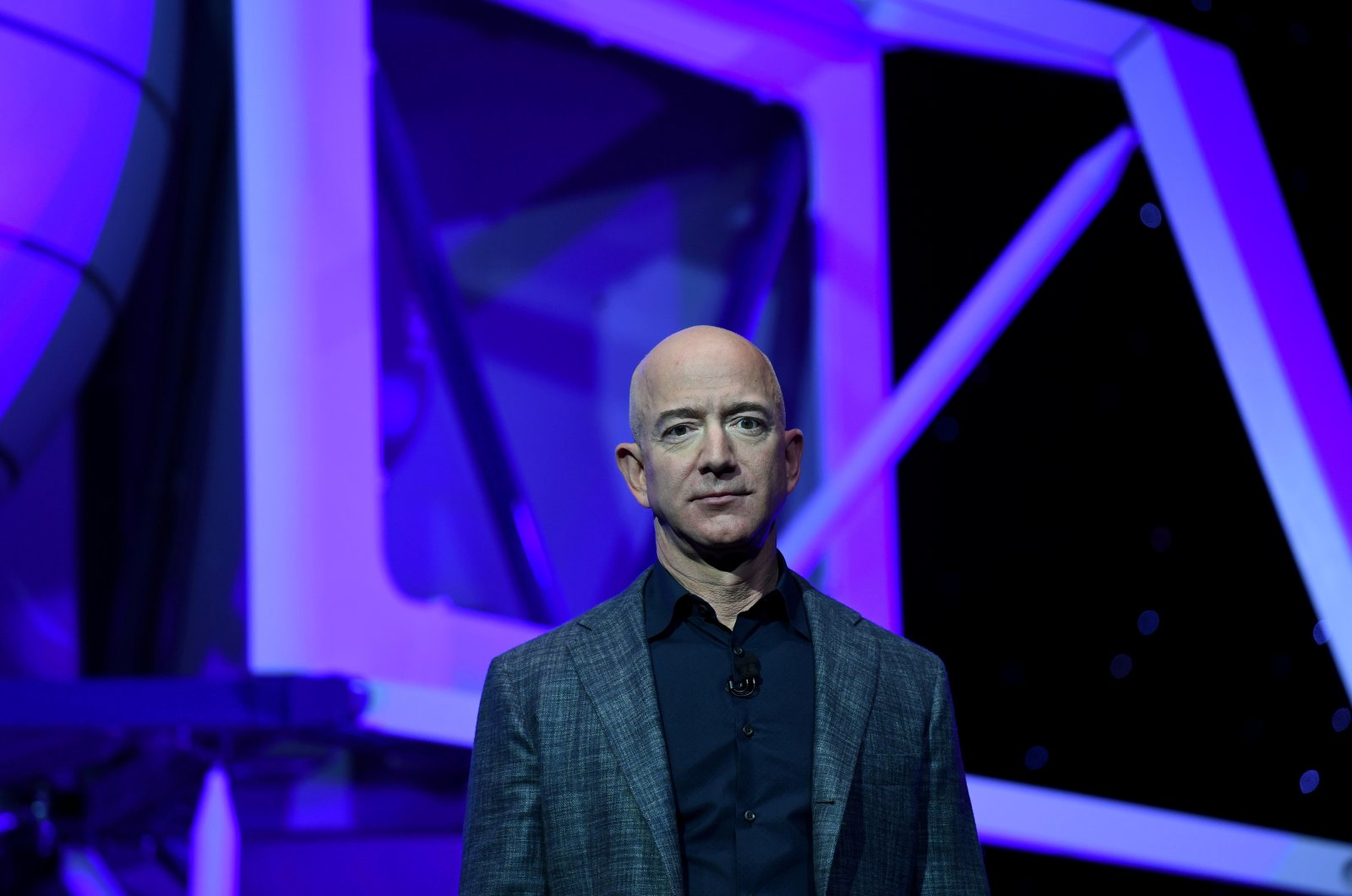 Founder, Chairman, CEO and President of Amazon Jeff Bezos unveils his space company Blue Origin's space exploration lunar lander rocket called Blue Moon during an unveiling event in Washington, D.C., U.S., May 9, 2019. (Reuters Photo)
