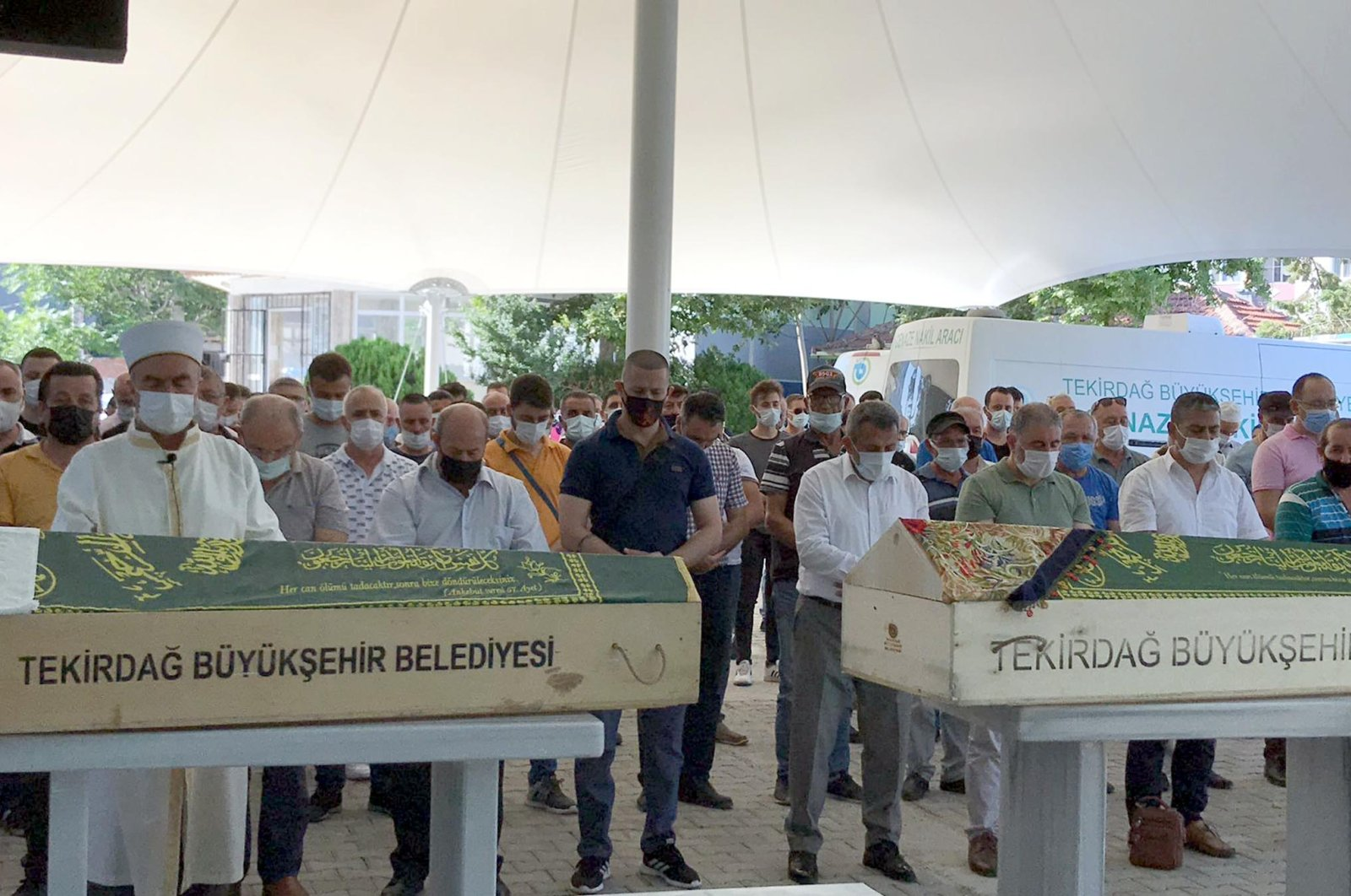 People attend a funeral for two victims of bootleg liquor poisoning, in Tekirdağ, northwestern Turkey, July 30, 2021. (DHA PHOTO)