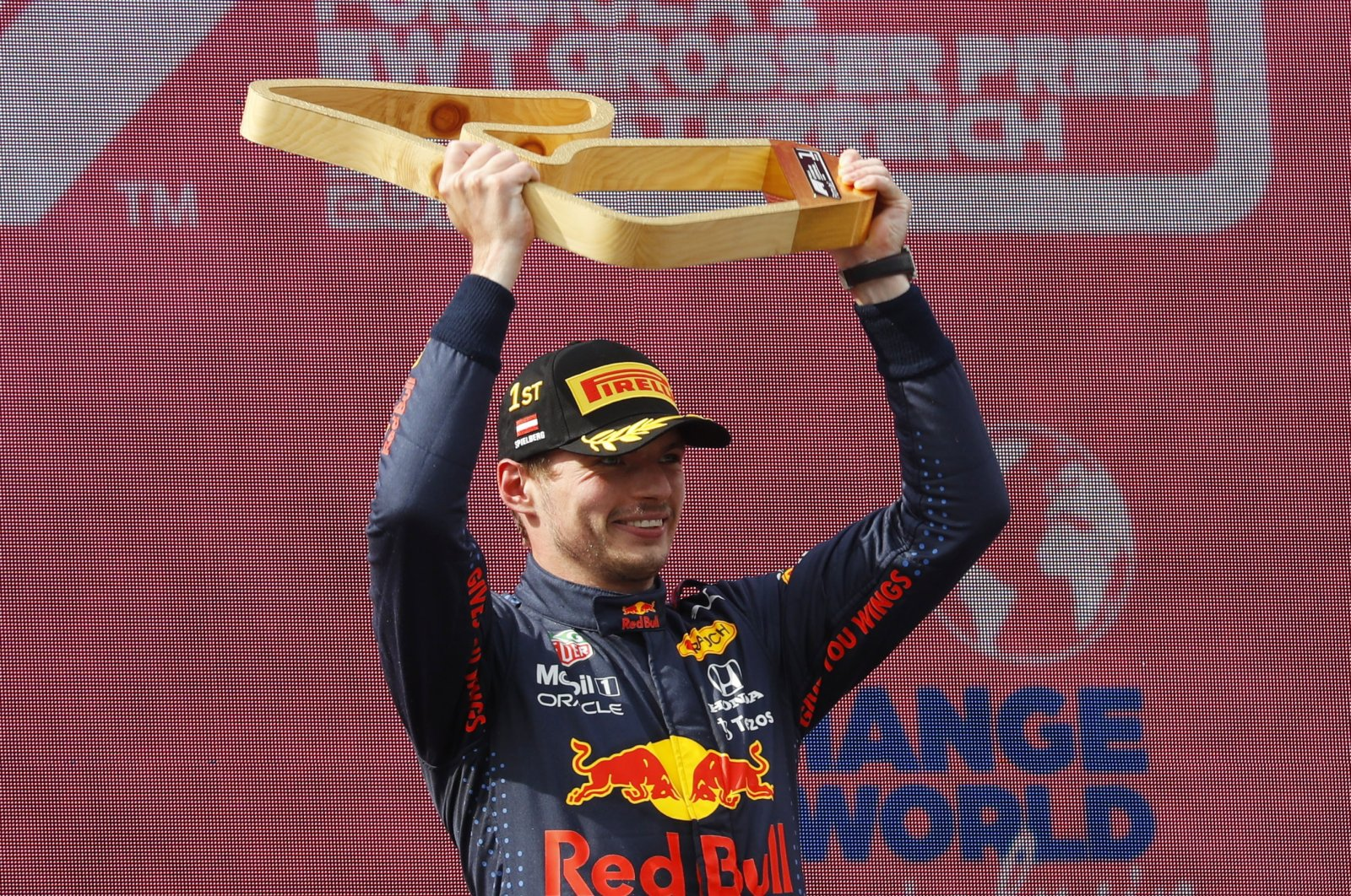 Red Bull's Max Verstappen celebrates winning with Formula One Austrian Grand Prix at the Red Bull Ring, Spielberg, Styria, Austria, July 4, 2021. (Reuters Photo)