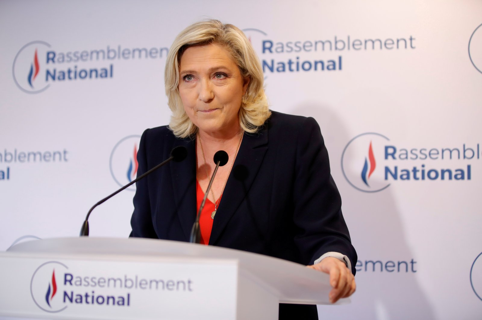 French far-right National Rally (Rassemblement National) party leader Marine Le Pen delivers a speech in reaction to the outcomes of the second round of French regional and departmental elections, in Nanterre, near Paris, France, June 27, 2021. (Reuters File Photo)