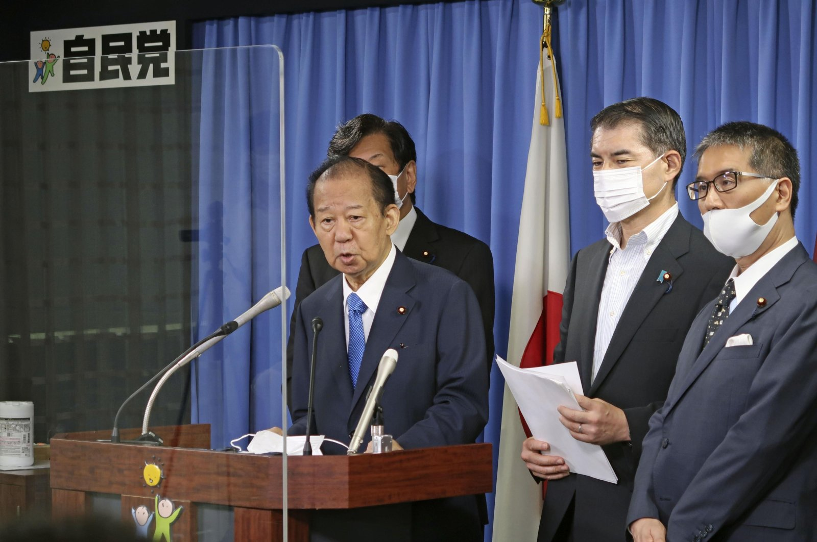 Japan's Liberal Democratic Party Secretary-General Toshihiro Nikai speaks at a news conference on election day for the Tokyo metropolitan assembly, in Tokyo, Japan, July 4, 2021. (AP Photo)