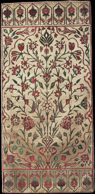 Cushion cover with a vase of flowers, cotton, silk and metallic threads, çatma weaving, probably Bursa or Istanbul, 1700s. (Courtesy Sadberk Hanım Museum)