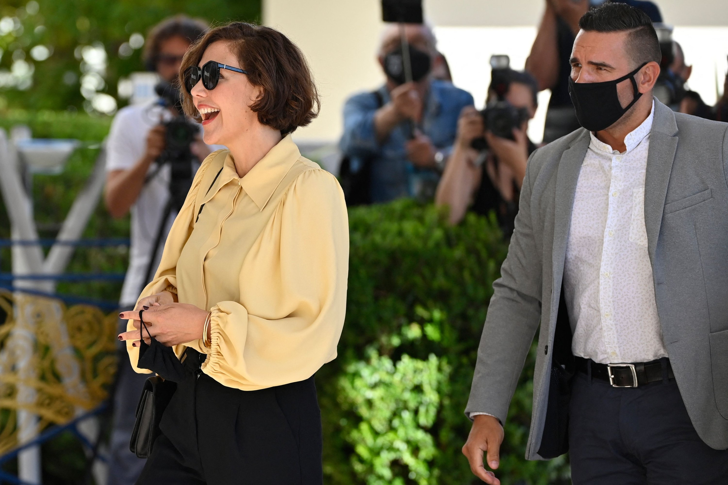 U.S. actress and jury member, Maggie Gyllenhaal, arrives at the Martinez Hotel on the eve of the opening of the 74th Cannes Film Festival in Cannes, southern France, July 5, 2021. (AFP Photo)