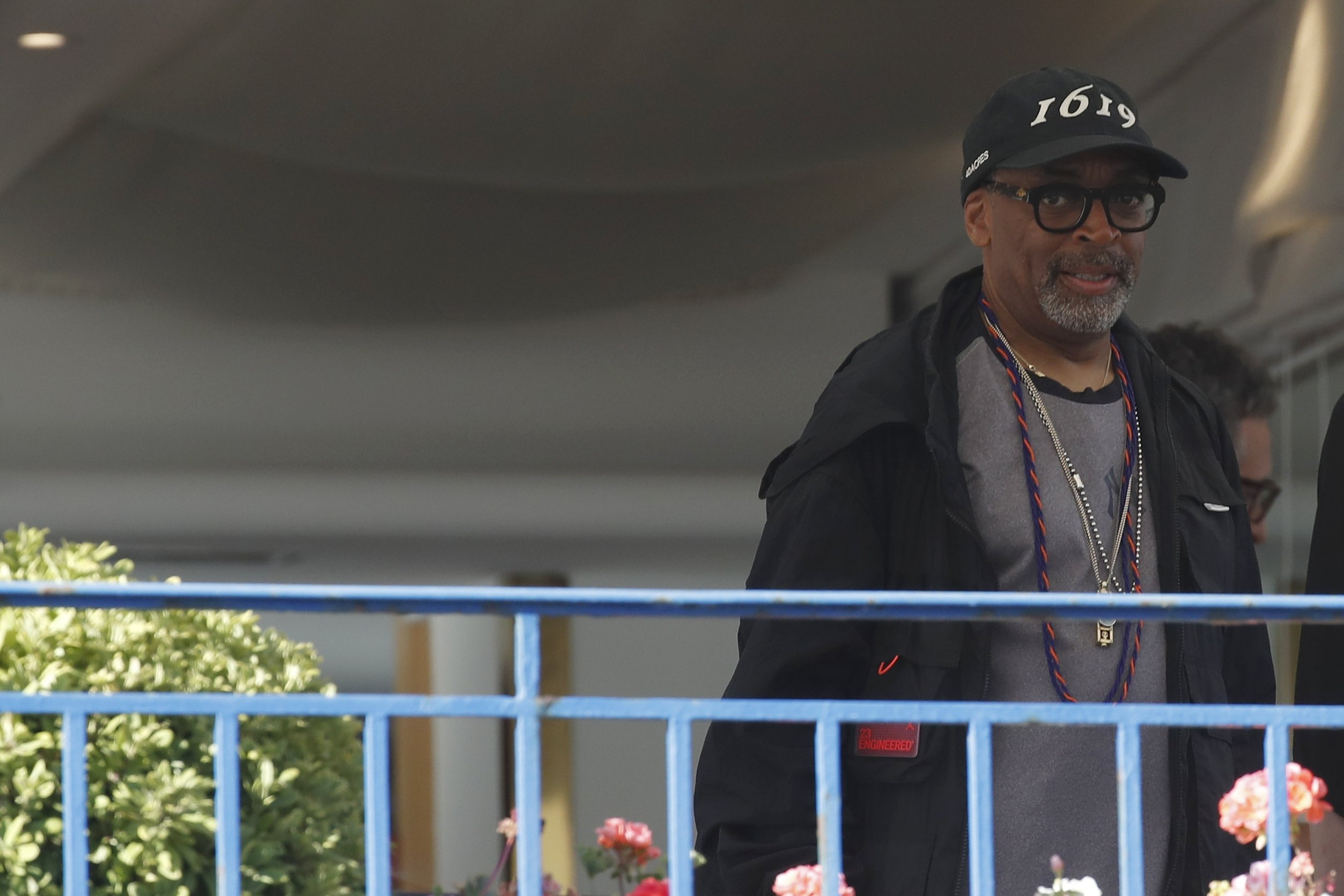 U.S. director and jury president, Spike Lee, stands on the balcony of the Martinez Hotel on the eve of the opening of the 74th Cannes Film Festival in Cannes, France, July 5, 2021. (Reuters Photo)