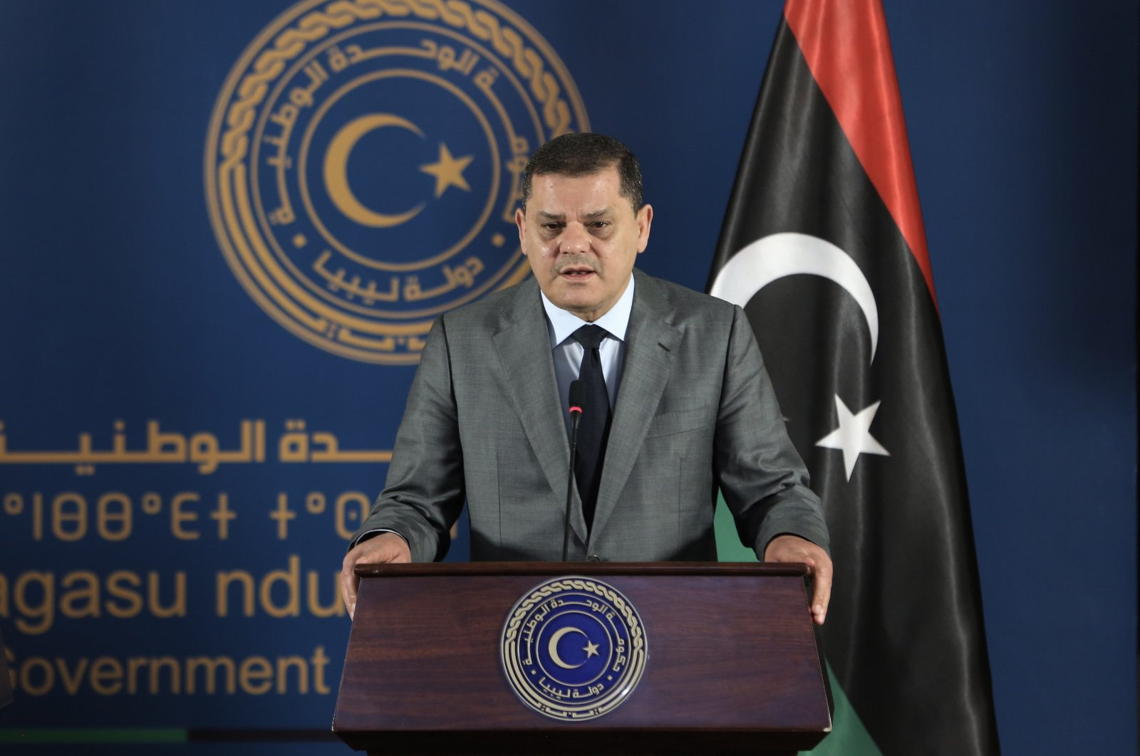 Libyan Prime Minister Abdul Hamid Mohammed Dbeibah speaks at a news conference in Tripoli, Libya, April 13, 2021. (AA File Photo)