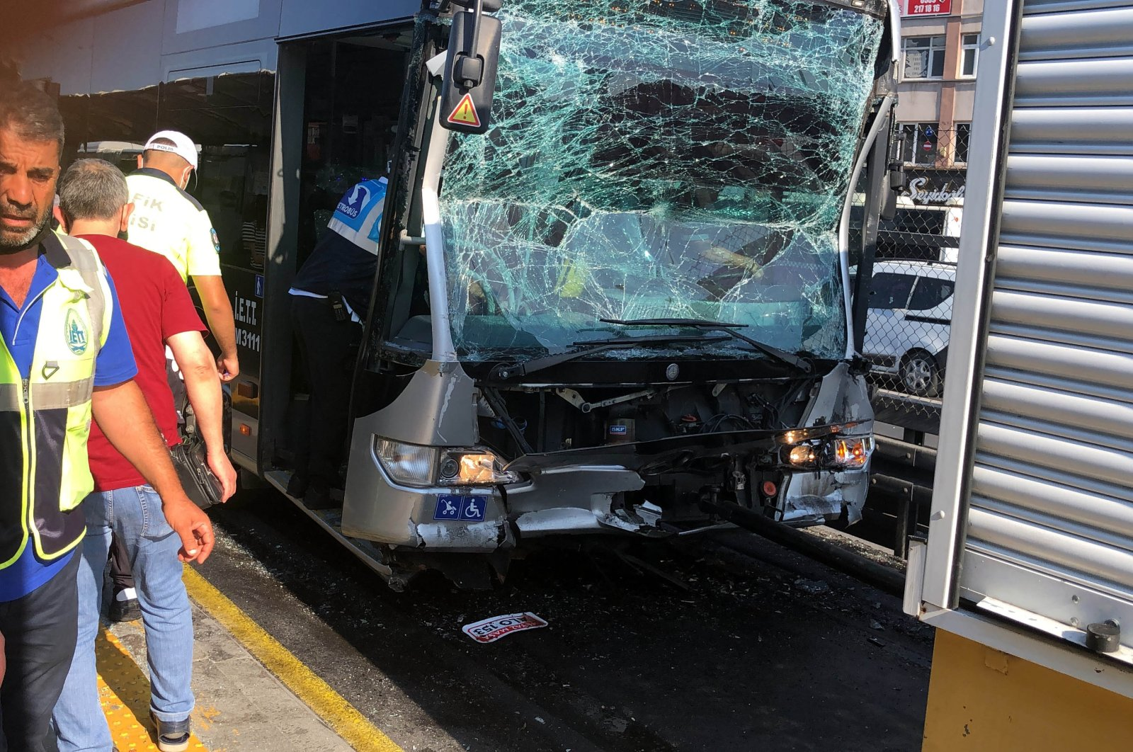 A view of the crashed metrobus, in Istanbul, Turkey, July 5, 2021. (DHA PHOTO)