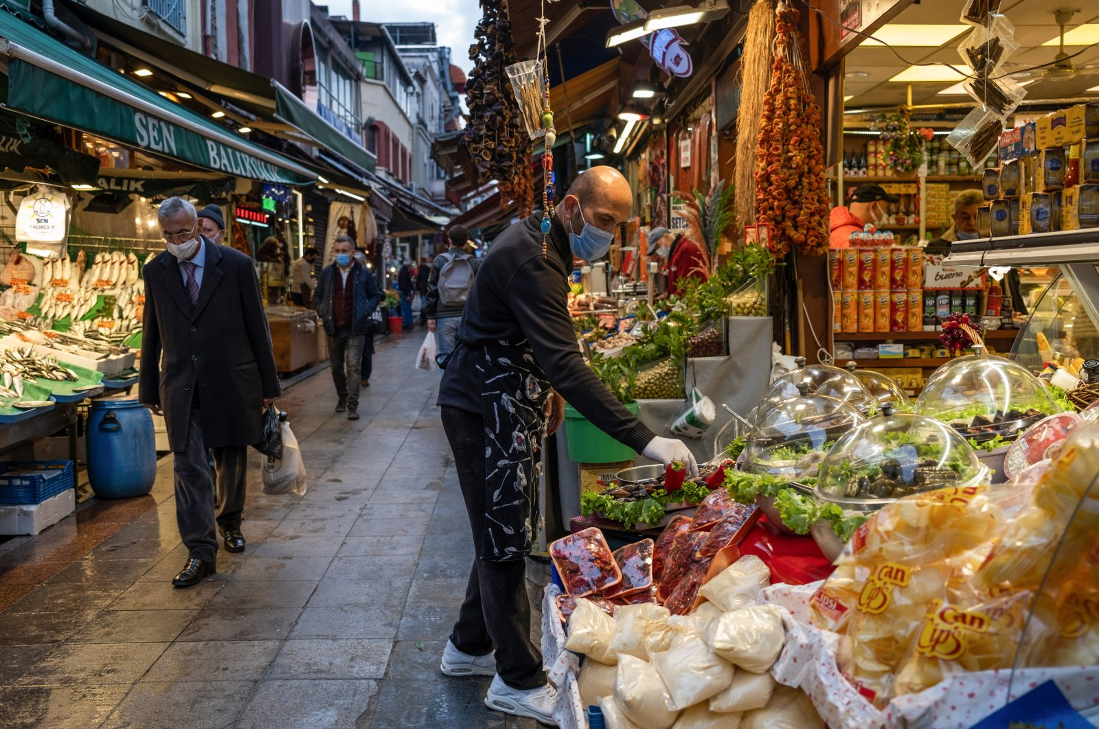 A man is seen while shopping in a local market in Istanbul, Turkey, Nov. 9, 2020. (Getty Images)