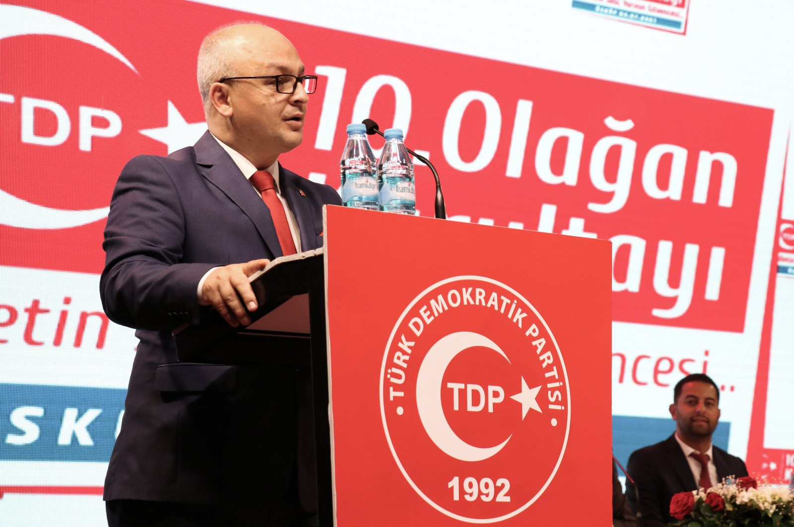 TDP Chairperson Beycan Ilyas speaks at his party's 10th ordinary congress in Skopje, North Macedonia, July 4, 2021. (AA Photo)