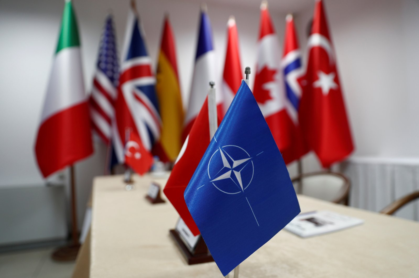 NATO's flag and the flags of participating countries are pictured during the Dynamic Monarch-17, a NATO-sponsored submarine escape and rescue exercise, at the Turkish Naval base of Aksaz, Turkey, Sept. 20, 2017. (Reuters File Photo)