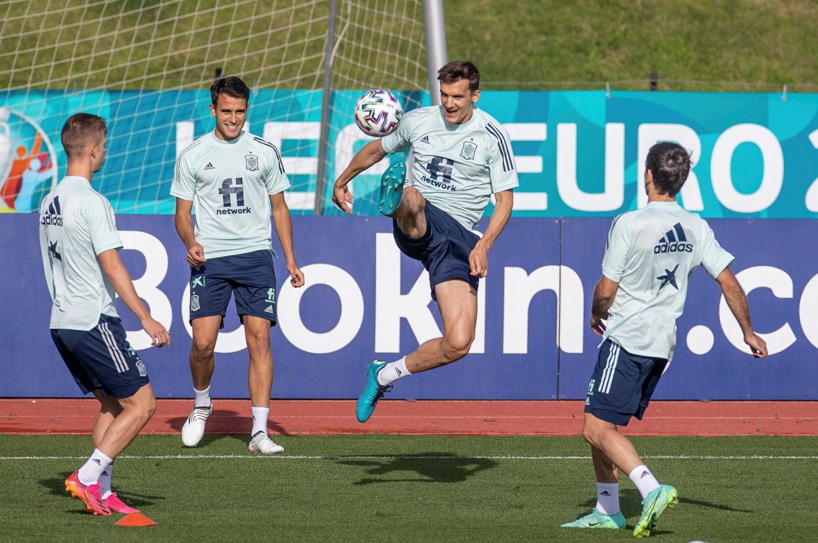 (From L to R) Spain's Dani Olmo, Eric Garcia and Diego Llorente attend a training session at Las Rozas Soccer City in Madrid, Spain, July 03, 2021. (EPA Photo)