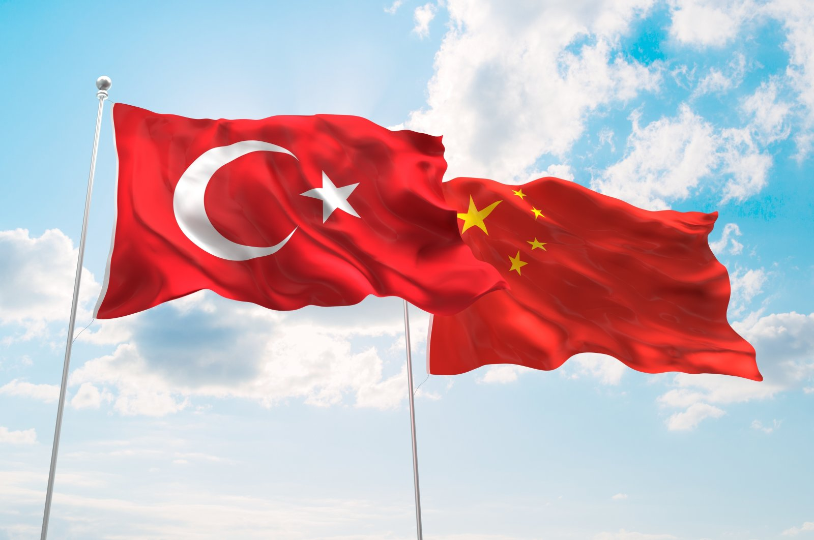 The flags of Turkey and China wave against a blue spring sky. (Shutterstock Photo)