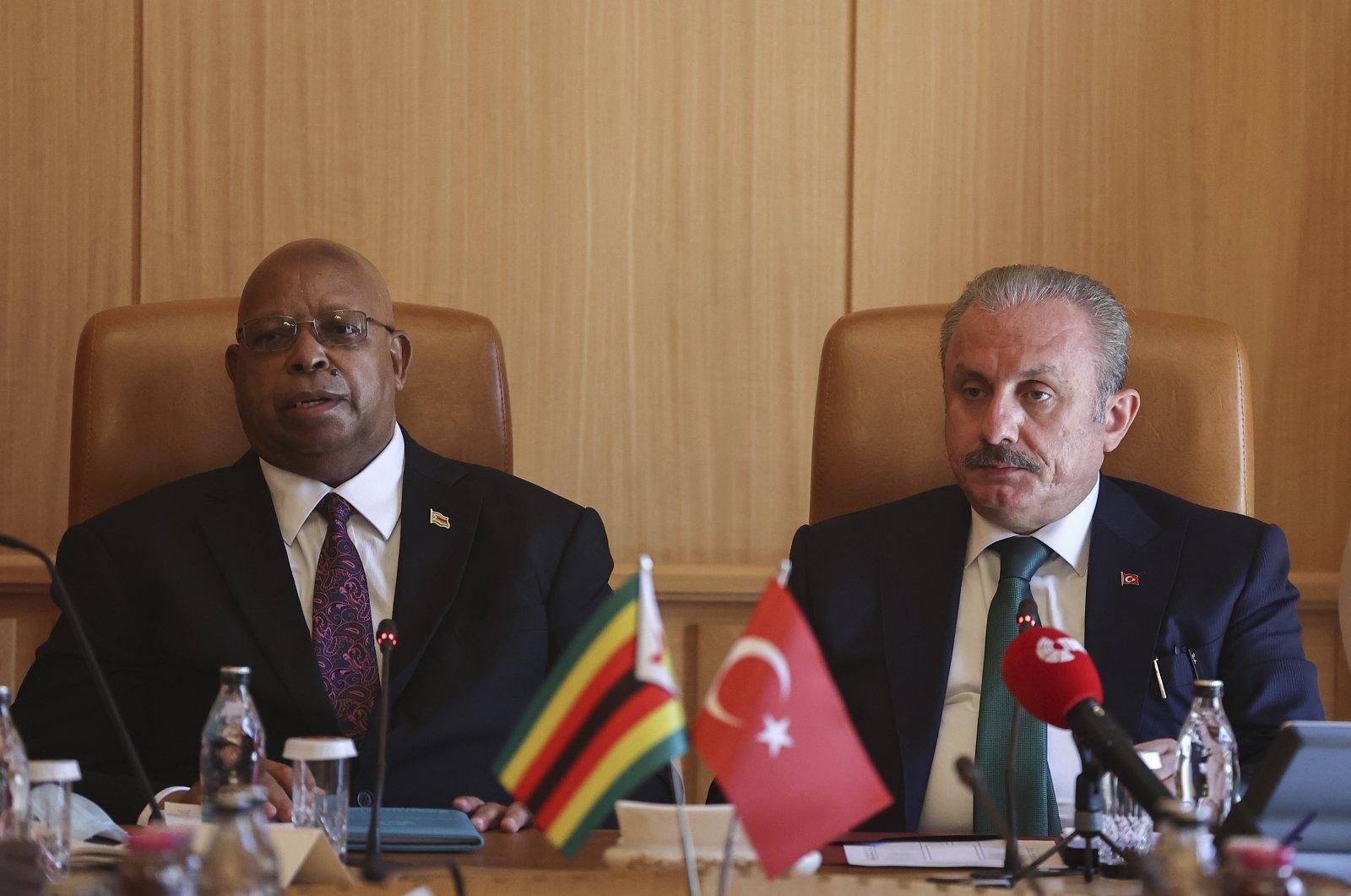 Turkish Parliament Speaker Mustafa Şentop (R) together with his Zimbabwean counterpart Jacob Francis Mudenda in Ankara, July 5, 2021 (AA Photo)