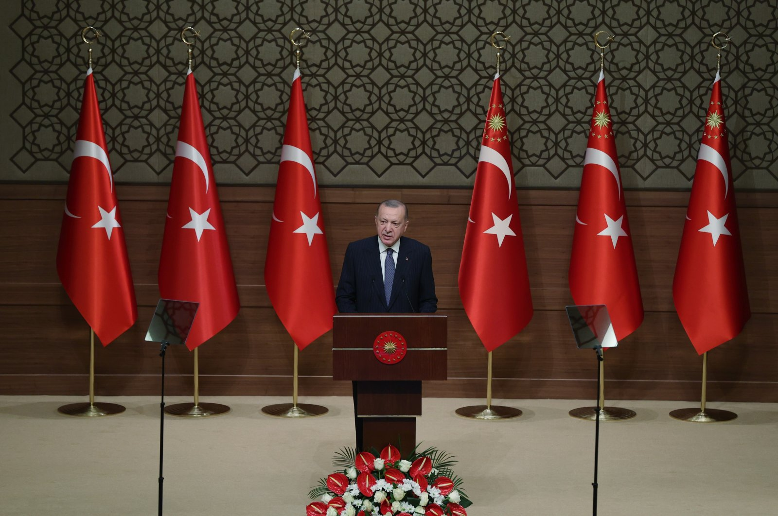 Turkish President Recep Tayyip Erdoğan speaks at a ceremony to inaugurate water projects in four Turkish provinces at the Presidential Complex, Ankara, Turkey, July 5, 2021. (IHA Photo)