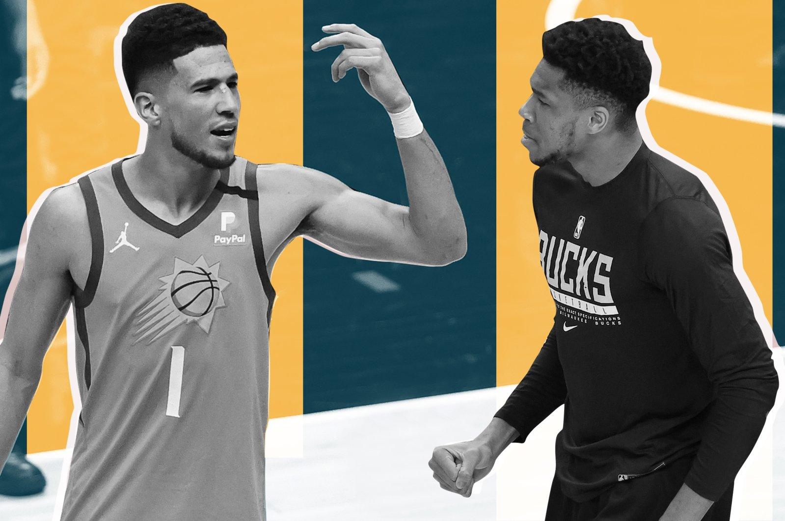 This photo combo created on July 5, 2021, shows Phoenix Suns' Devin Booker and Milwaukee Bucks' Giannis Antetokounmpo. (Daily Sabah/Büşra Öztürk)