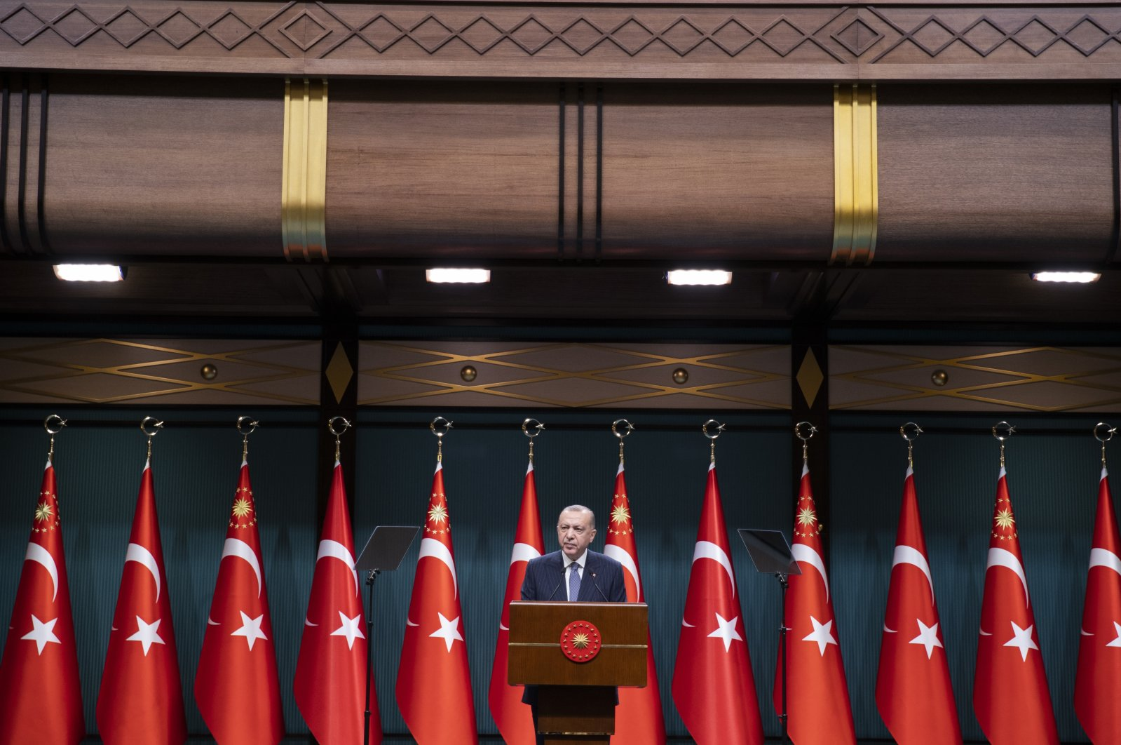 President Recep Tayyip Erdoğan speaks to the press after a Cabinet meeting at Ankara's Presidential Complex, Turkey, July 5, 2021 (AA Photo)