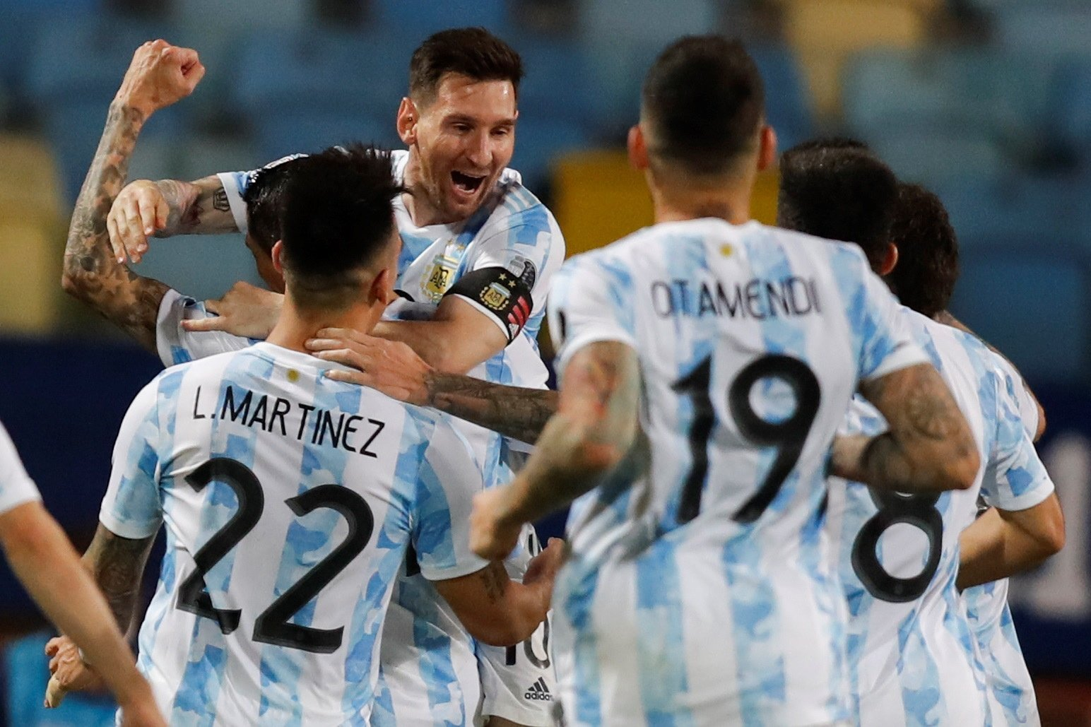 Argentina's Lionel Messi (C) celebrates with his teammates after scoring during the Copa America 2021 quarterfinals against Ecuador at the Pedro Ludovico Teixeira Olympic Stadium, Goiania, Brazil, July 3, 2021. (EPA Photo)