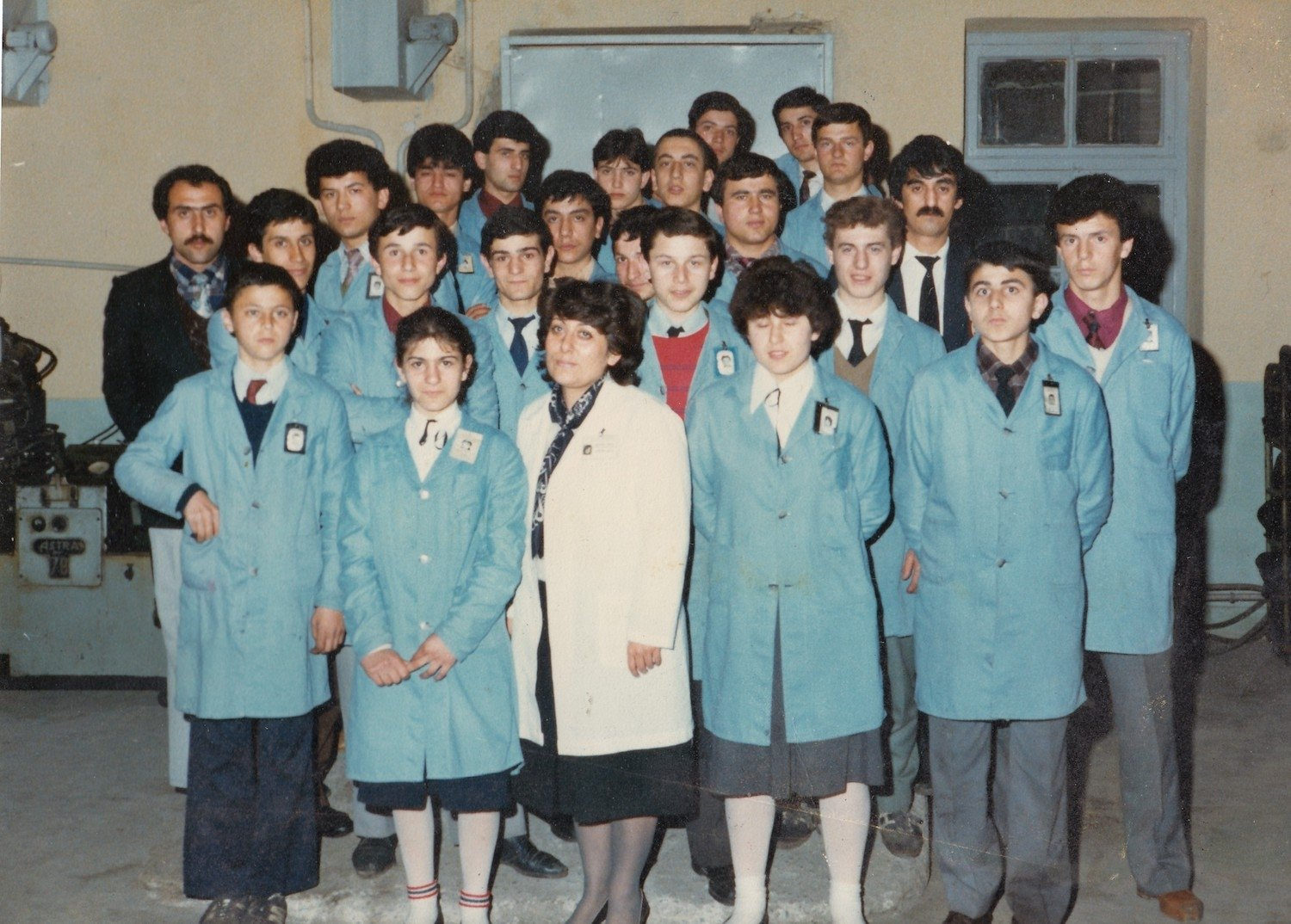 An old photo shows some workers at training in Sümerbank Beykoz Leather and Shoe Factory from 'Kundura Memory' exhibition.
