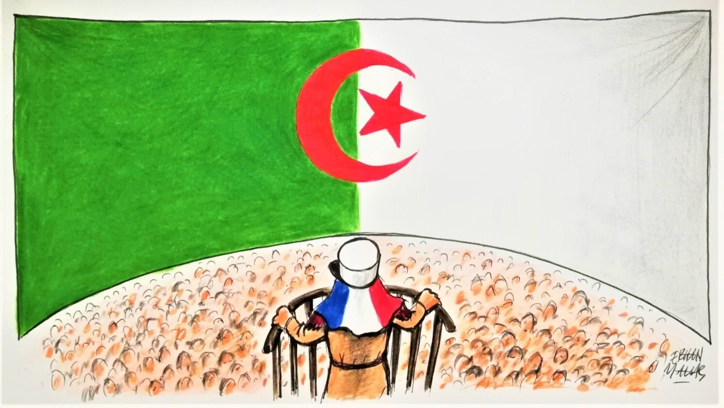 Illustration by Erhan Yalvaç shows a man with French-flagged hat confronting the Algerian flag, symbolizing the tension between France and Algeria.