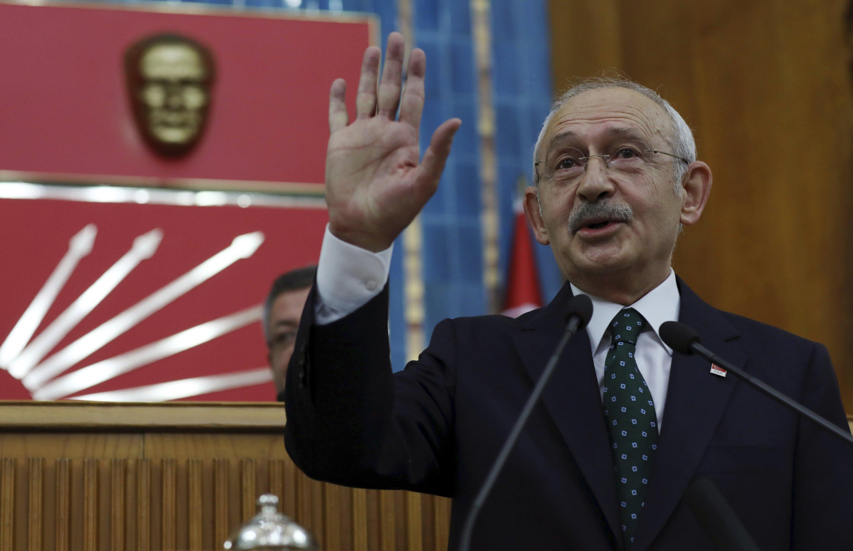 Republican People's Party (CHP) Chairman Kemal Kılıçdaroğlu addresses his legislators at the Parliament, Ankara, Turkey, Nov. 26, 2019. (AP Photo)