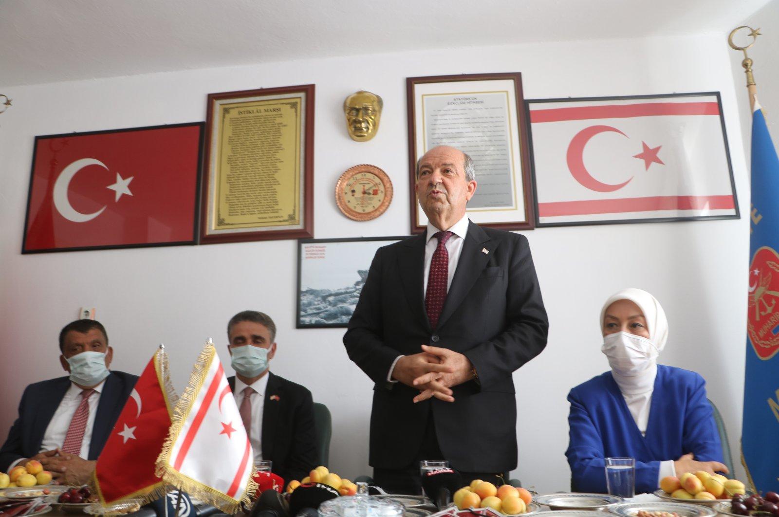 TRNC President Ersin Tatar speaks to war veterans in Malatya, Turkey, July 5, 2021. (AA Photo)