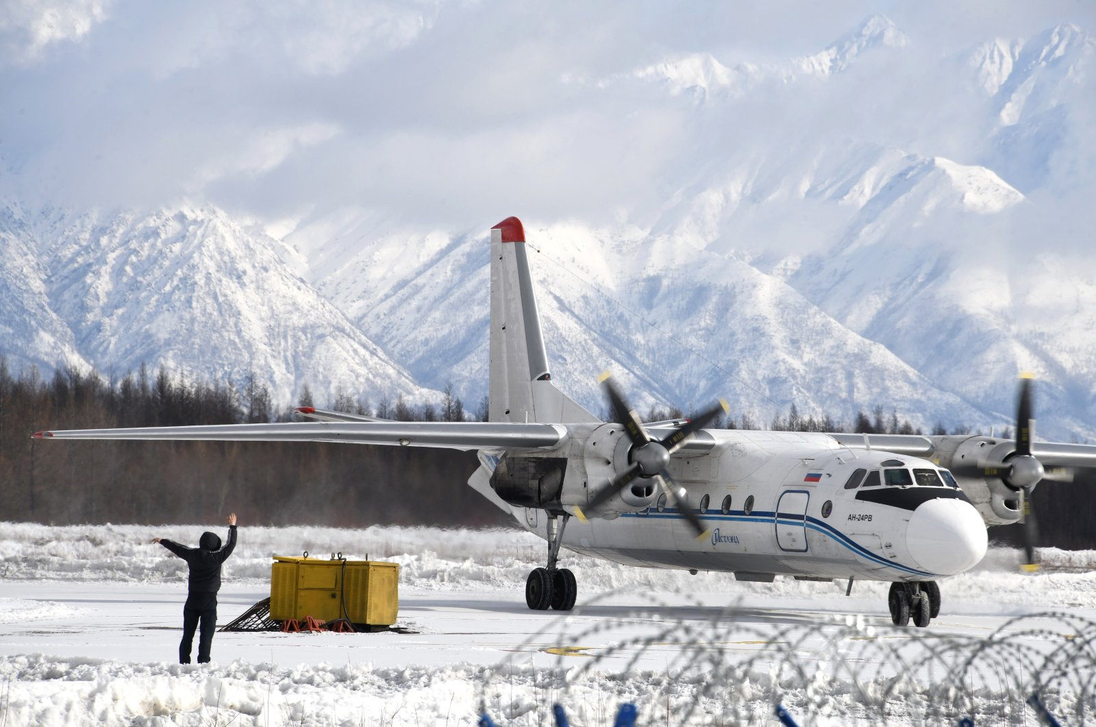 An Antonov An-24, similar to the one that disappeared near the Kamchatka Peninsula, prepares for takeoff at the Chara Airport in Transbaikalia, Russia. (Getty Images)